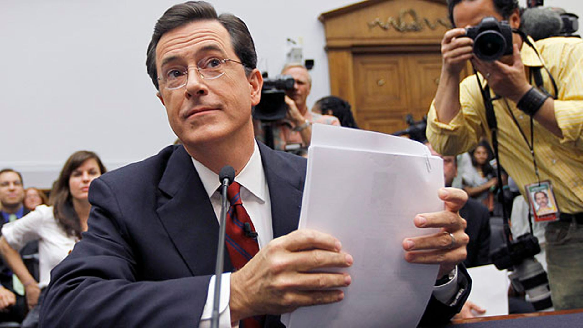 Sept. 24, 2010: Comedian Stephen Colbert prepares to testify on Capitol Hill before the House Immigration, Citizenship, Refugees, Border Security and International Law subcommittee hearing on Protecting America's Harvest (AP).