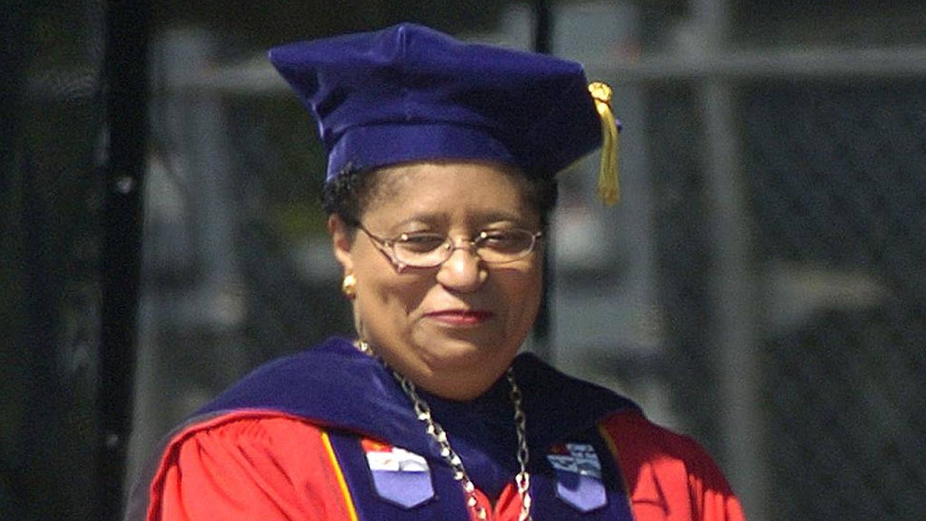 FILE - In this May 21, 2005 file photo, Rensselaer Polytechnic Institute President Shirley Ann Jackson is shown during commencement excercises in Troy, N.Y.   Three dozen college presidents at private colleges and universities made more than a $1 million dollars in 2012, with the highest earner bringing home $7.1 million in compensation, according to a survey of the 500 private schools with the largest endowments. The highest earner was Shirley Ann Jackson at Rensselaer Polytechnic Institute.  Her compensation included a pay out of nearly $5.9 million that had been set aside over a decade as a retention incentive, according to the Chronicle of Higher Education's report released Sunday.  (AP Photo/Tim Roske)