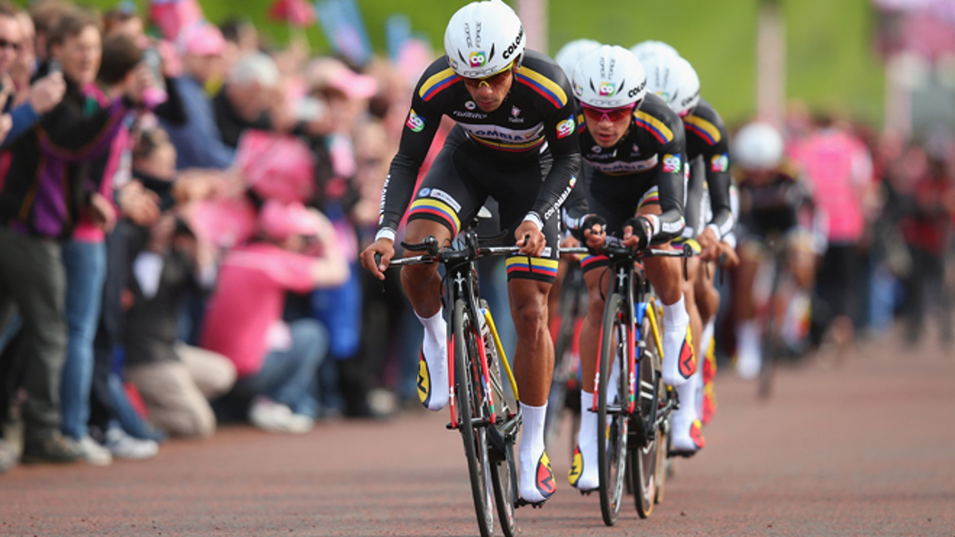 Team Colombia during the first stage of the 2014 Giro d'Italia in Belfast, Northern Ireland.