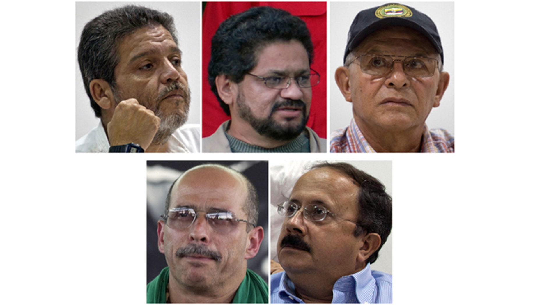 Five main negotiators representing the FARC, in the peace talks with the Colombian government, from left: Marco Leon Calarca; Ivan Marquez; Ricardo Tellez; Simon Trinidad; and Andres Paris.