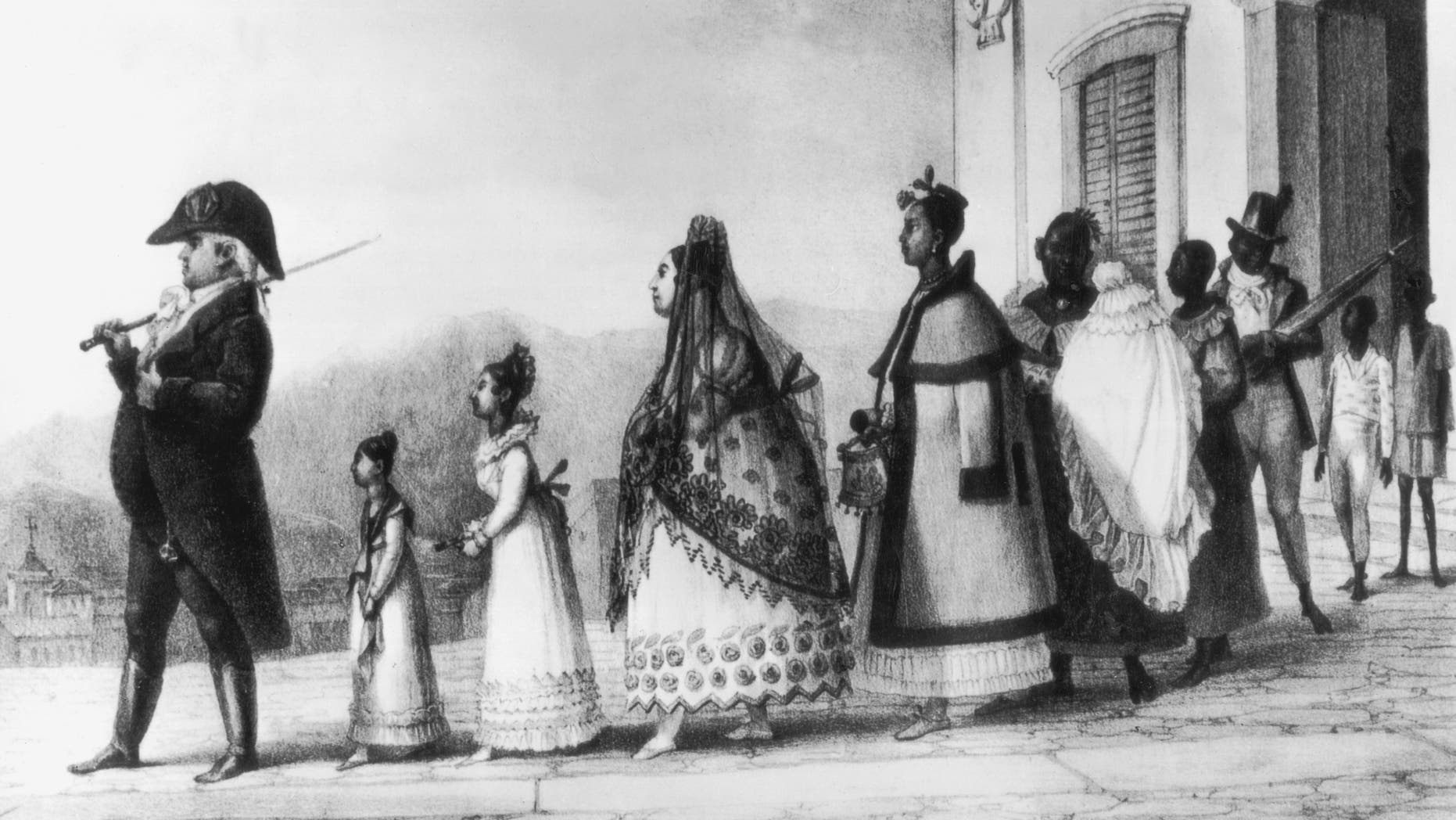 Portuguese settlers in Brazil, circa 1820. A civil servant takes his family for a stroll in Rio de Janeiro. From 'Voyage Pittoresque et Historique au Bresil' by Jean-Baptiste Debret. (Photo by Hulton Archive/Getty Images)