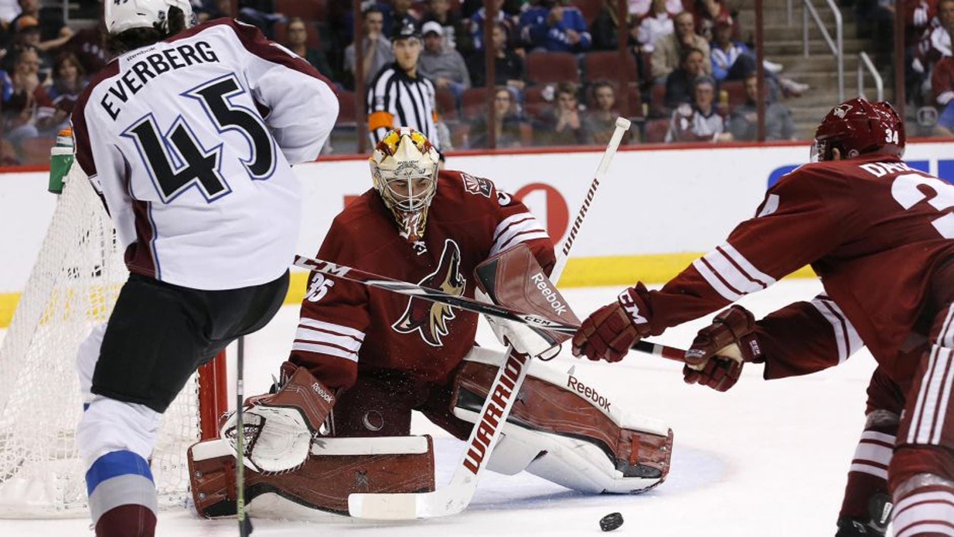 Colorado Avalanche's Dennis Everberg (45), of Sweden, passes the puck past Arizona Coyotes' Louis Domingue (35) as Coyotes' Klas Dahlbeck (34), of Sweden, during the third period of an NHL hockey game Thursday, March 19, 2015, in Glendale, Ariz. The Avalanche defeated the Coyotes 5-2. (AP Photo/Ross D. Franklin)