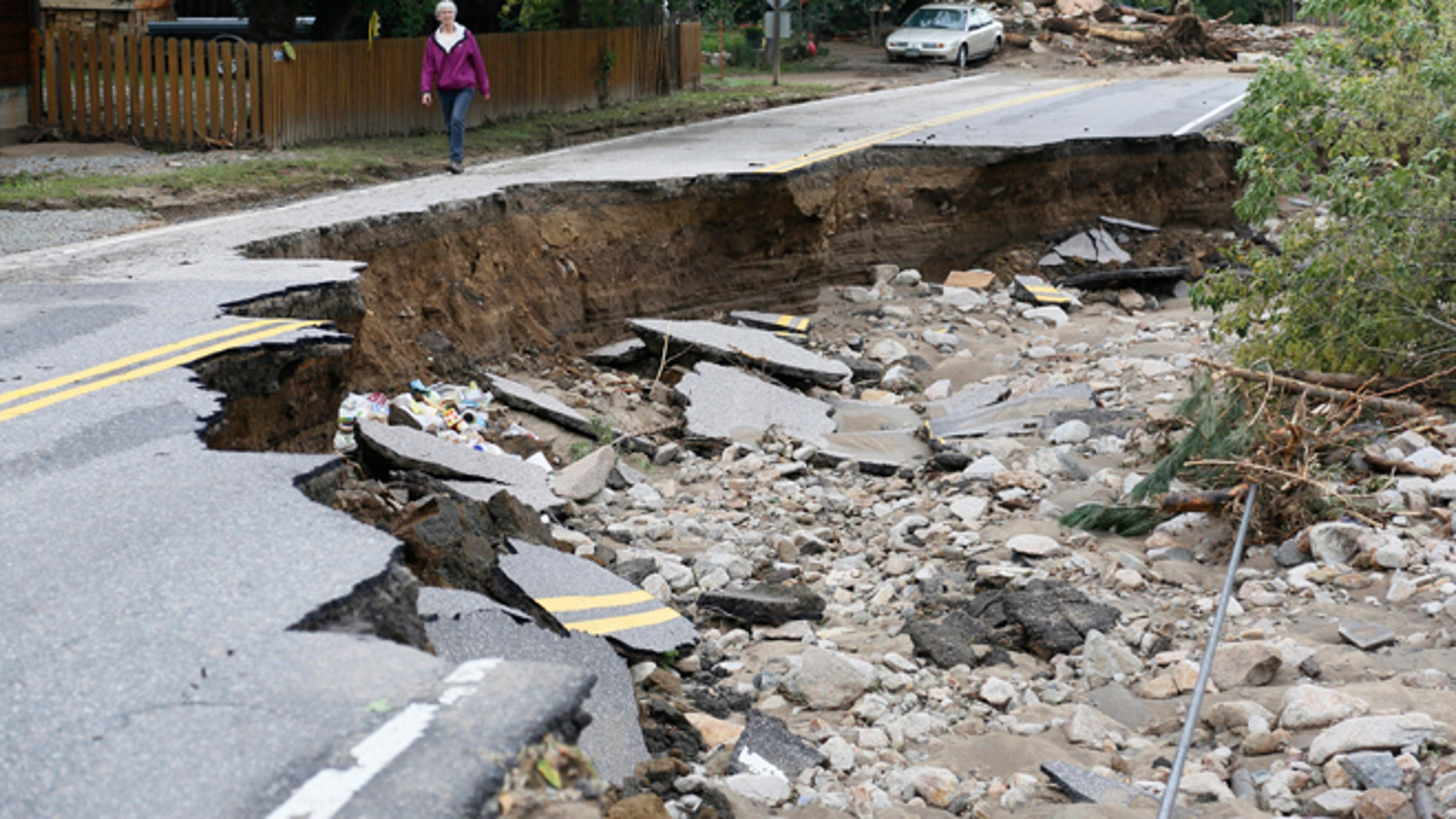 This September 14, 2013 photos shows a flood-destroyed Main Street in Jamestown, Colorado.