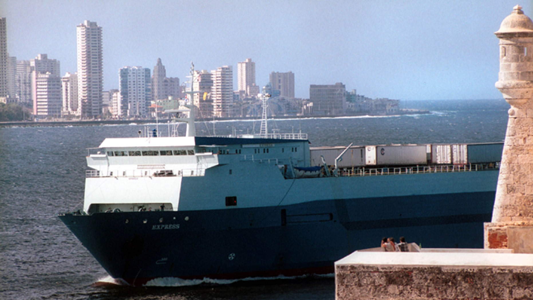 The Express Monrovia arrives December 16, 2001, at the Port of Havana, Cuba. The vessel was one of the first commercial shipments to arrive in Havana from the U.S.A. after 1963. It was carrying a shipment of corn. (Photo by Jorge Rey/Getty Images)