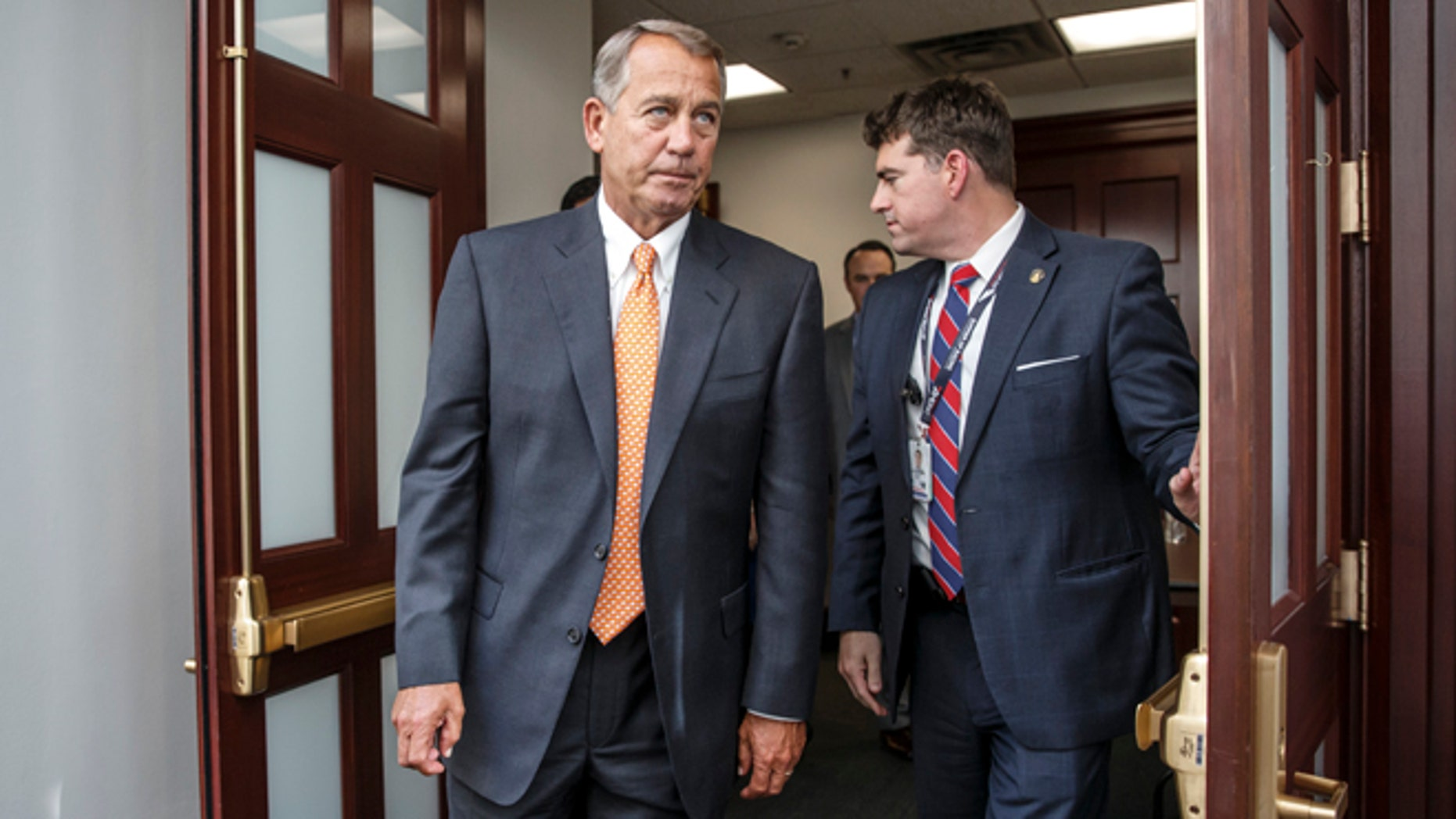 House Speaker John Boehner  with House Republicans on Capitol Hill Friday, Jan. 9, 2015.