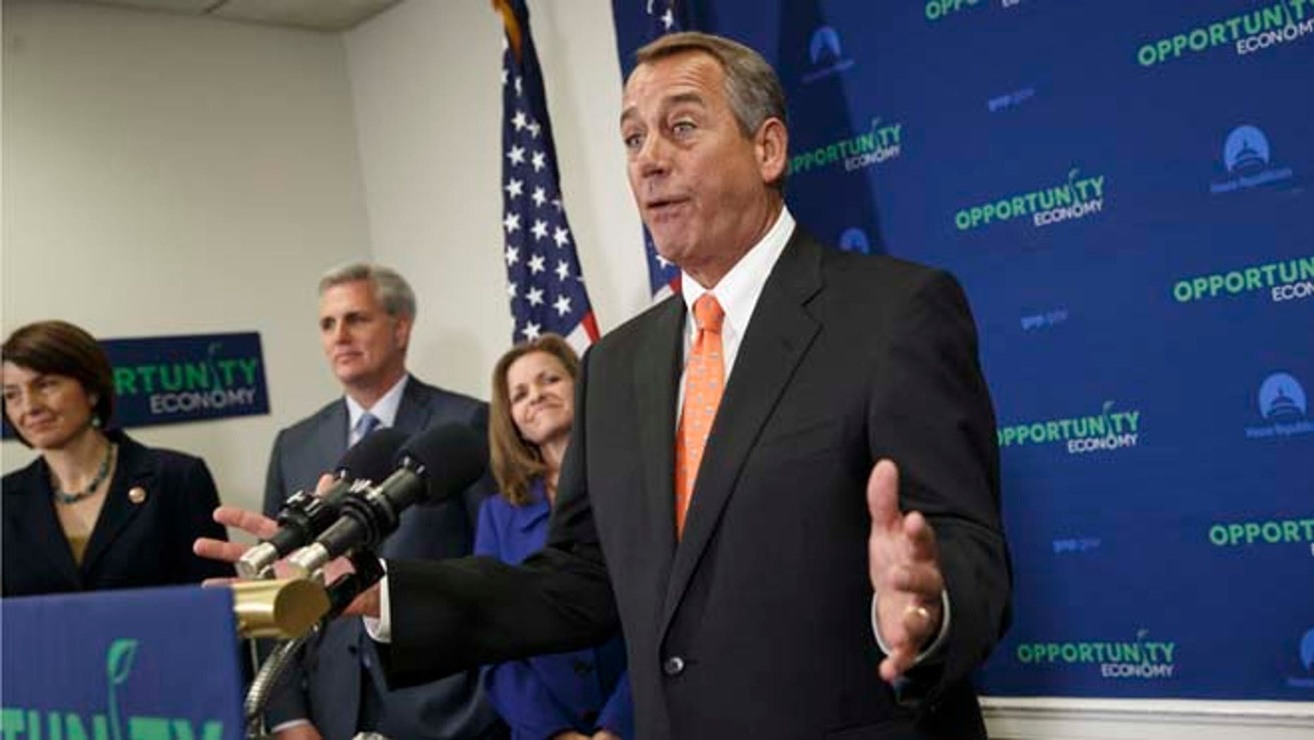 Speaker John Boehner  following a GOP strategy meeting, on Capitol Hill, Wednesday, Feb. 11, 2015