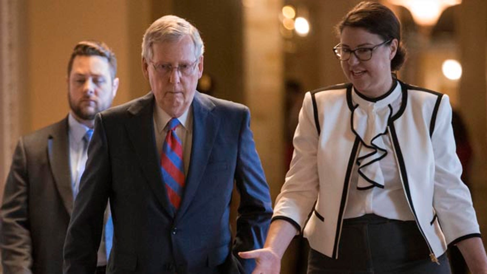 Senate Majority Leader Mitch McConnell of Ky. walks to the Senate chamber on Capitol Hill, Wednesday, June 29, 2016.