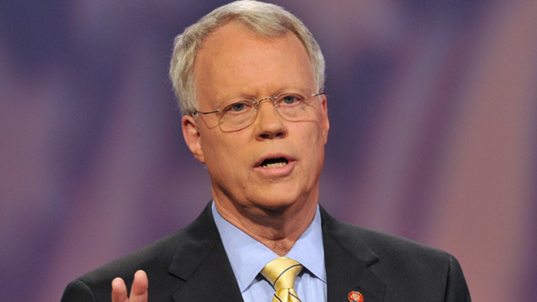 July 2, 2008: In this file photo, 10th Congressional District Republican candidate Rep. Paul Broun speaks on the set of Georgia Public television in Atlanta.