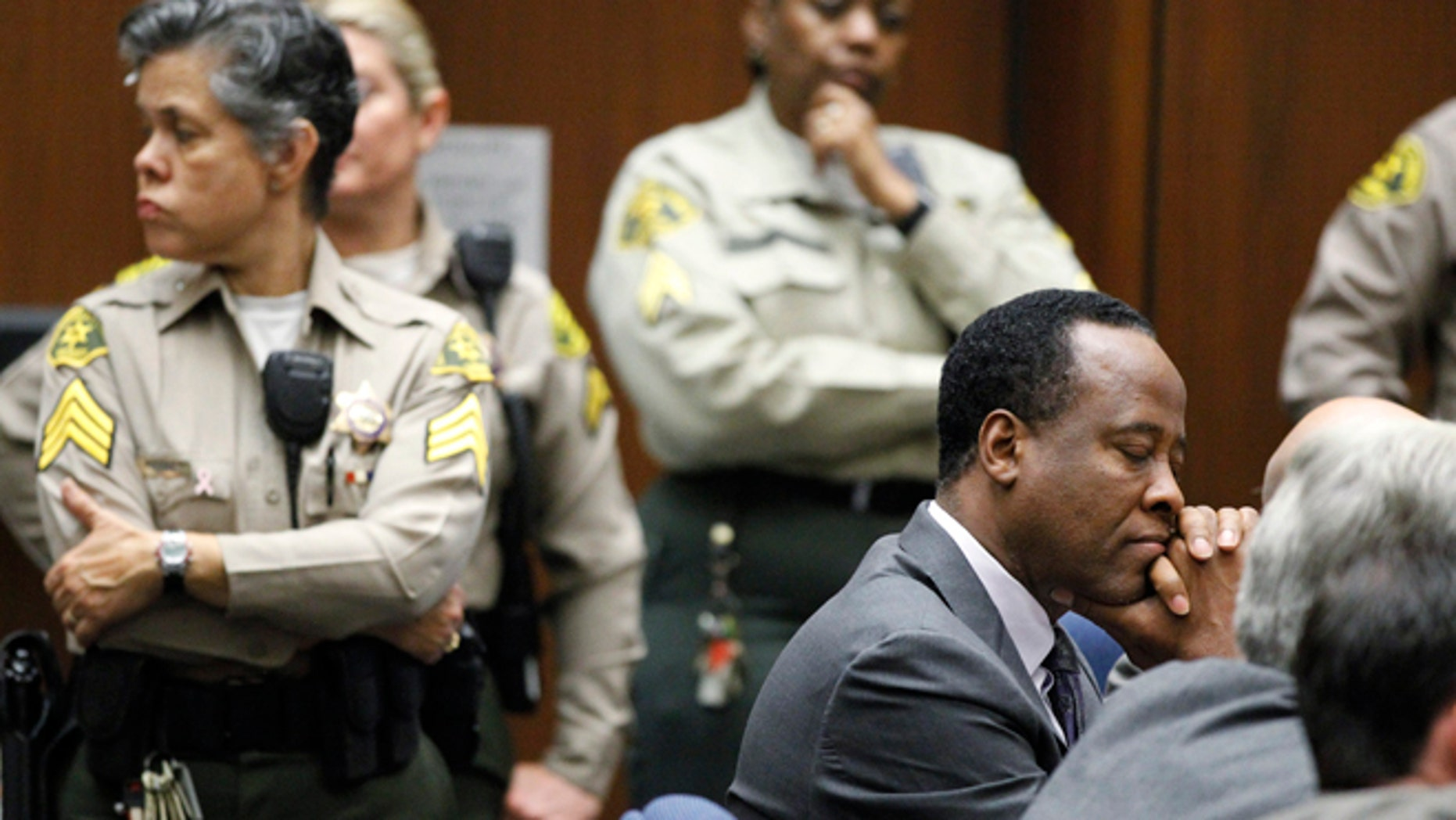Nov. 29, 2011: Dr. Conrad Murray closes his eyes after he was sentenced to four years in county jail for his involuntary manslaughter conviction of pop star Michael Jackson in Los Angeles.