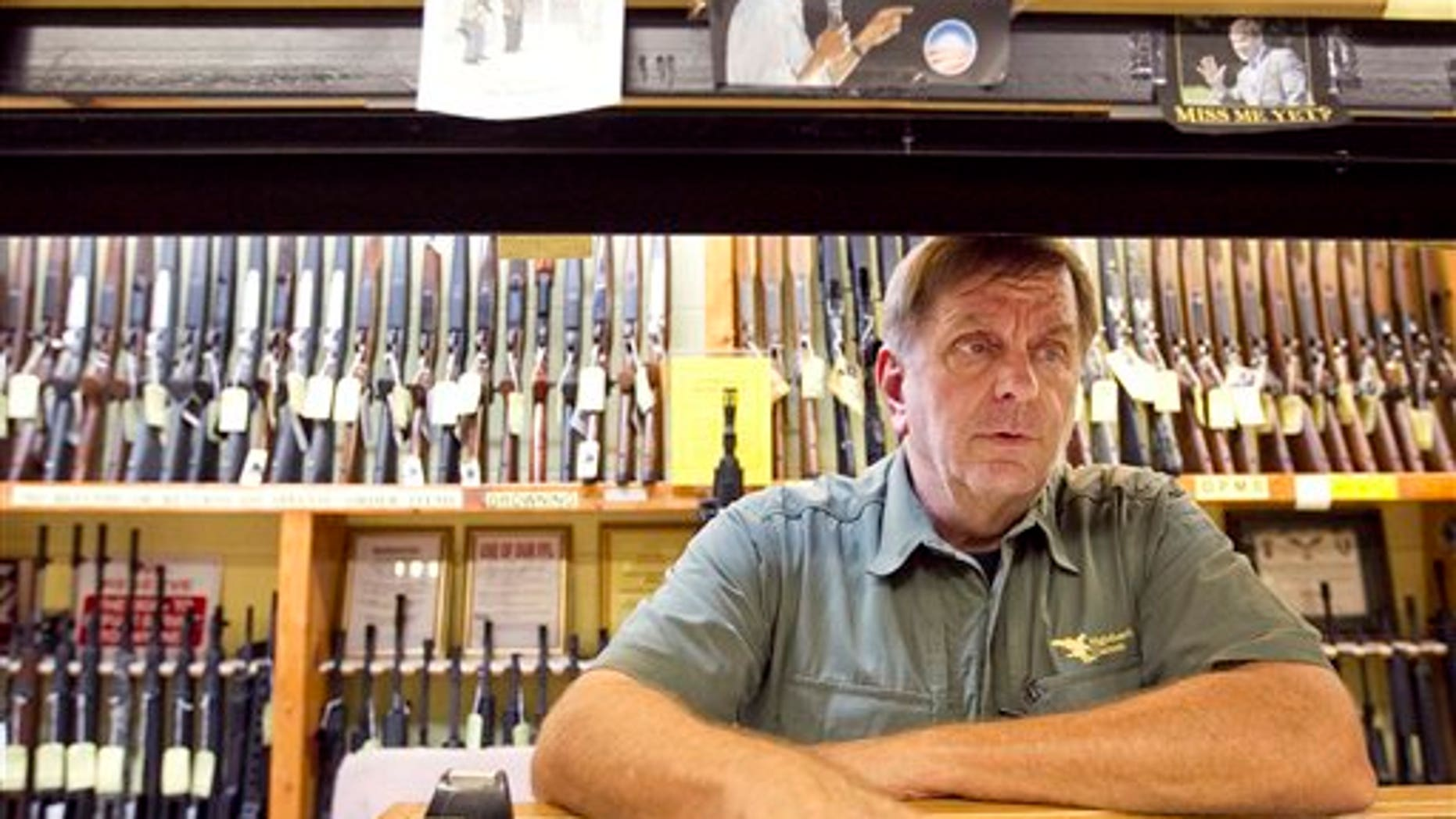 July 28: Greg Ebert, a part-time clerk at Guns Galore, speaks at the in Killeen, Texas shop.