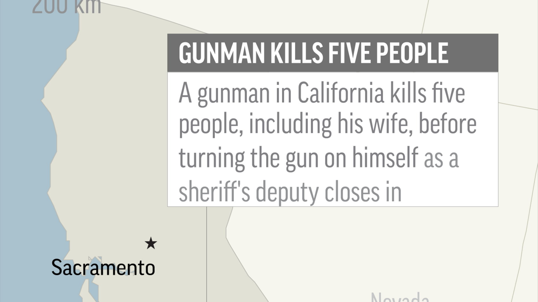 Map locates Bakersfield, California, where a gunman shot and killed five people; 1c x 4 inches; 46.5 mm x 101 mm;