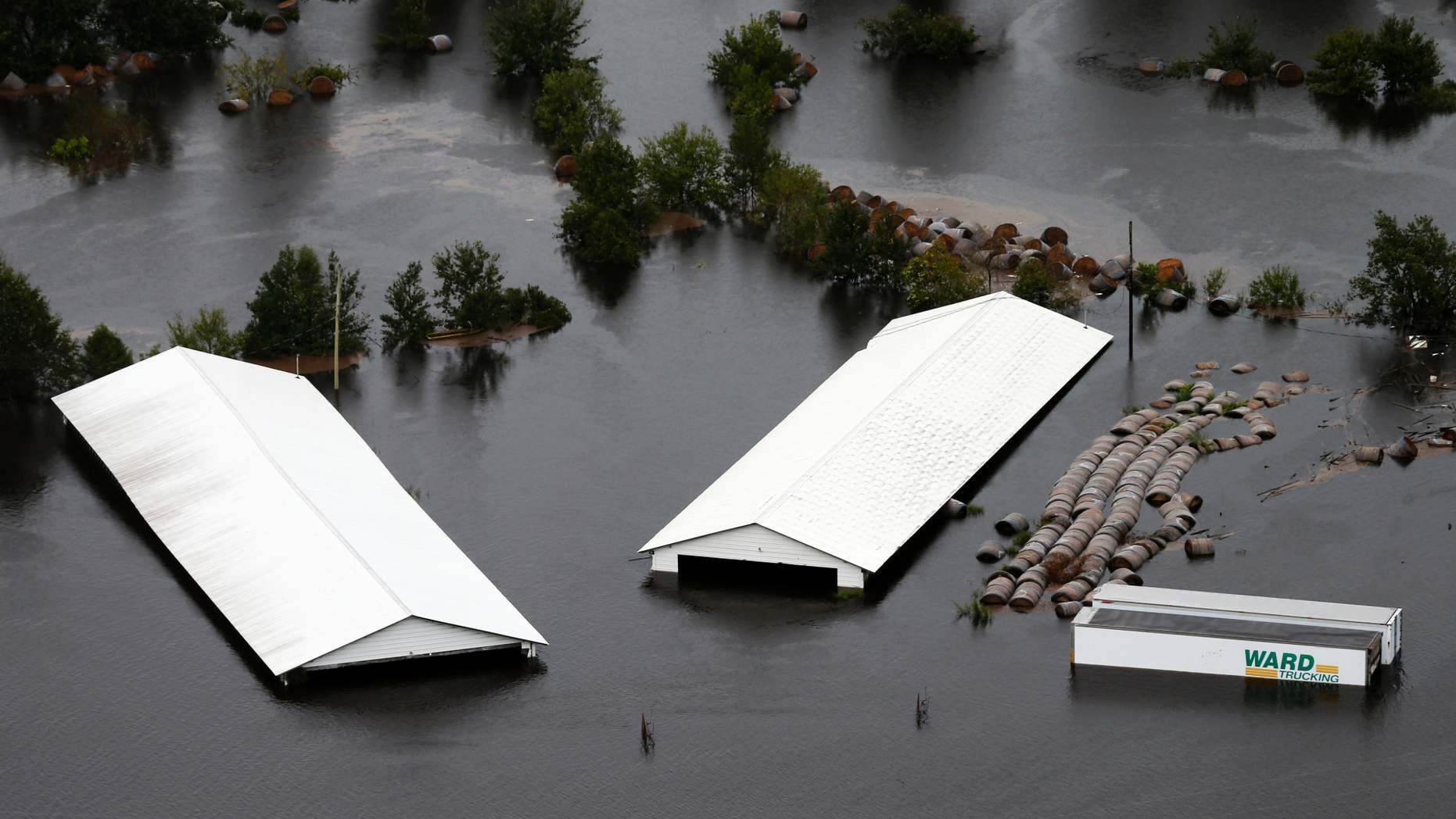 Farm buildings are inundated with floodwater from Hurricane Florence near Trenton, N.C., Sunday, Sept. 16, 2018. (AP Photo/Steve Helber)