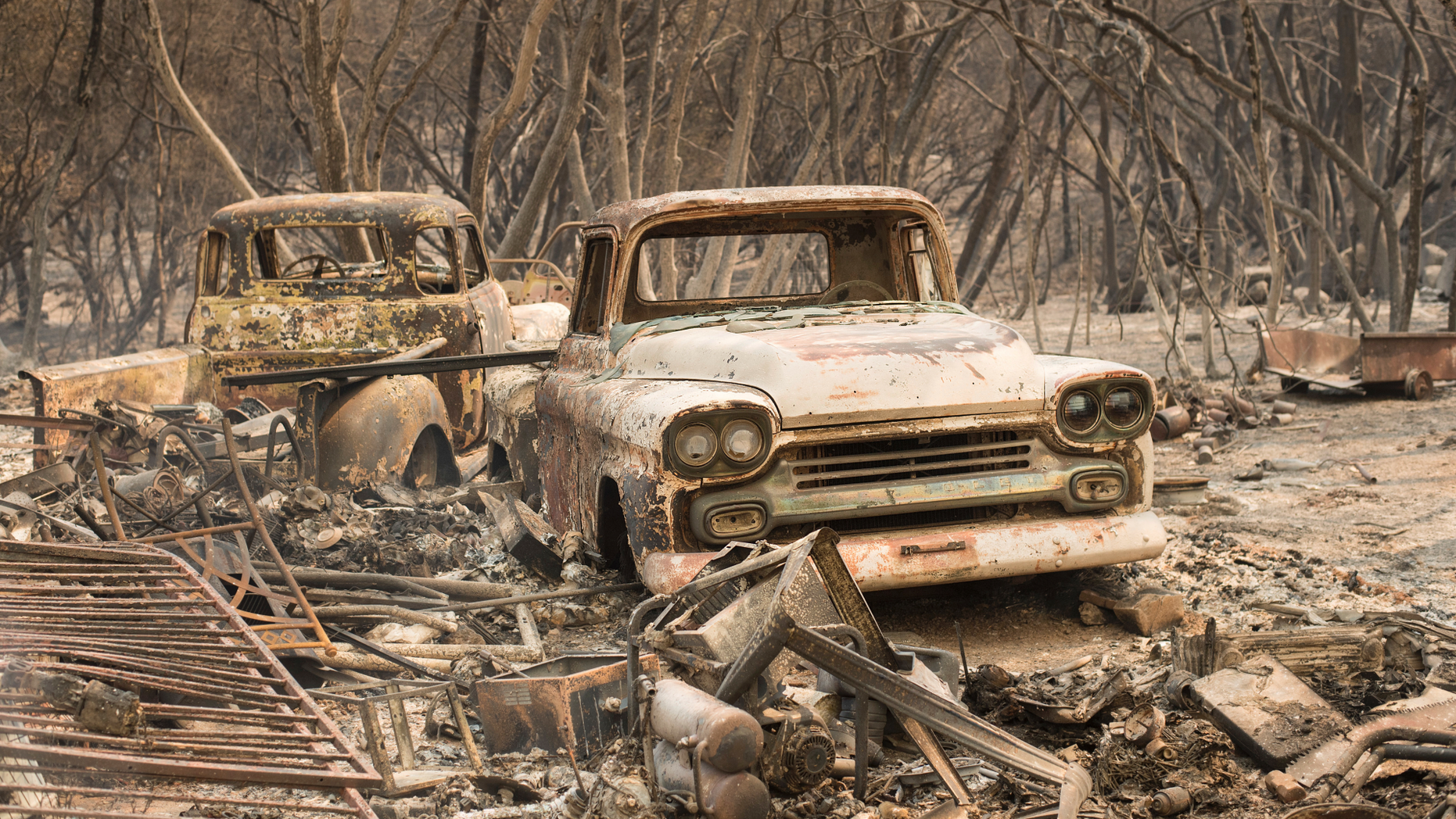 Vintage trucks burned by the Wall fire rest in a grove near Oroville, Calif., on Saturday, July 8, 2017.
