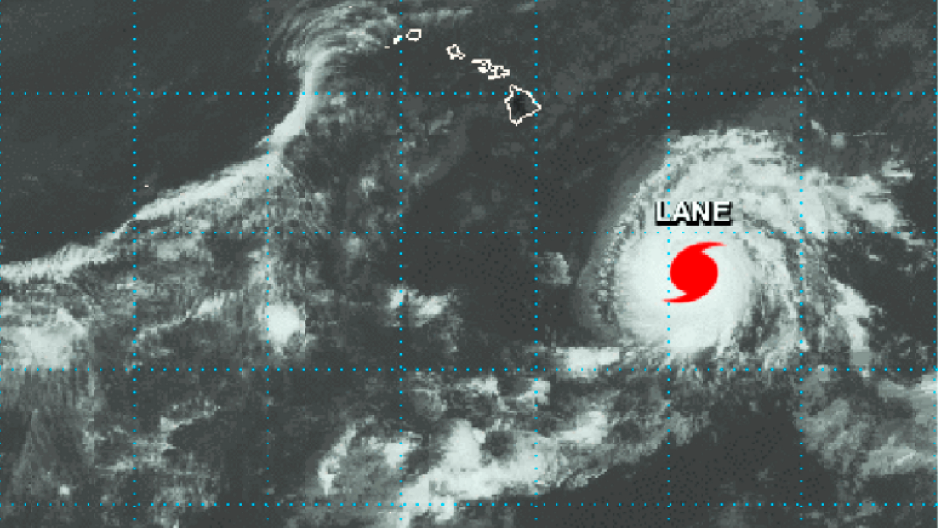 This NASA satellite imagery shows Hurricane Lane in the Central Pacific Ocean southeast of the Hawaiian Islands at 2:01 p.m. HST (21:01 GMT) Monday, Aug. 20, 2018.