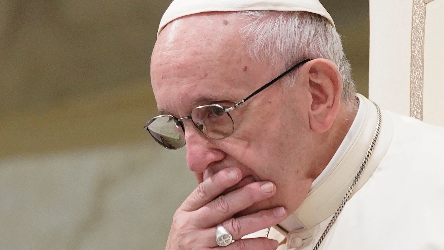 FILE - In this Aug. 22, 2018 file photo, Pope Francis is caught in pensive mood during his weekly general audience at the Vatican. Francis' papacy has been thrown into crisis by accusations that he covered-up sexual misconduct by ex-Cardinal Theodore McCarrick. (AP Photo/Andrew Medichini, File)
