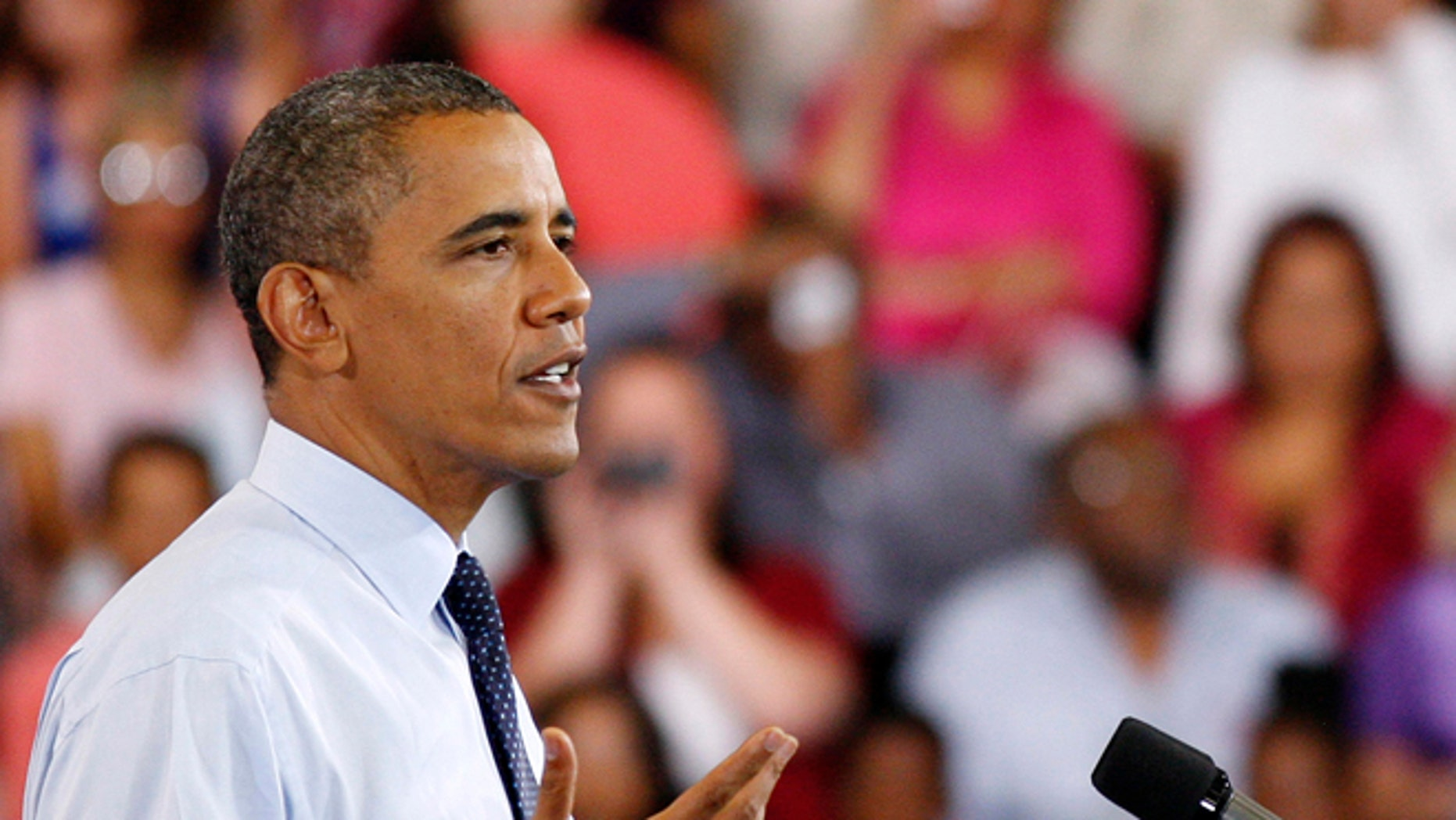 FILE: Aug. 22, 2012: President Obama speaks during a campaign stop in north Las Vegas, Nevada.