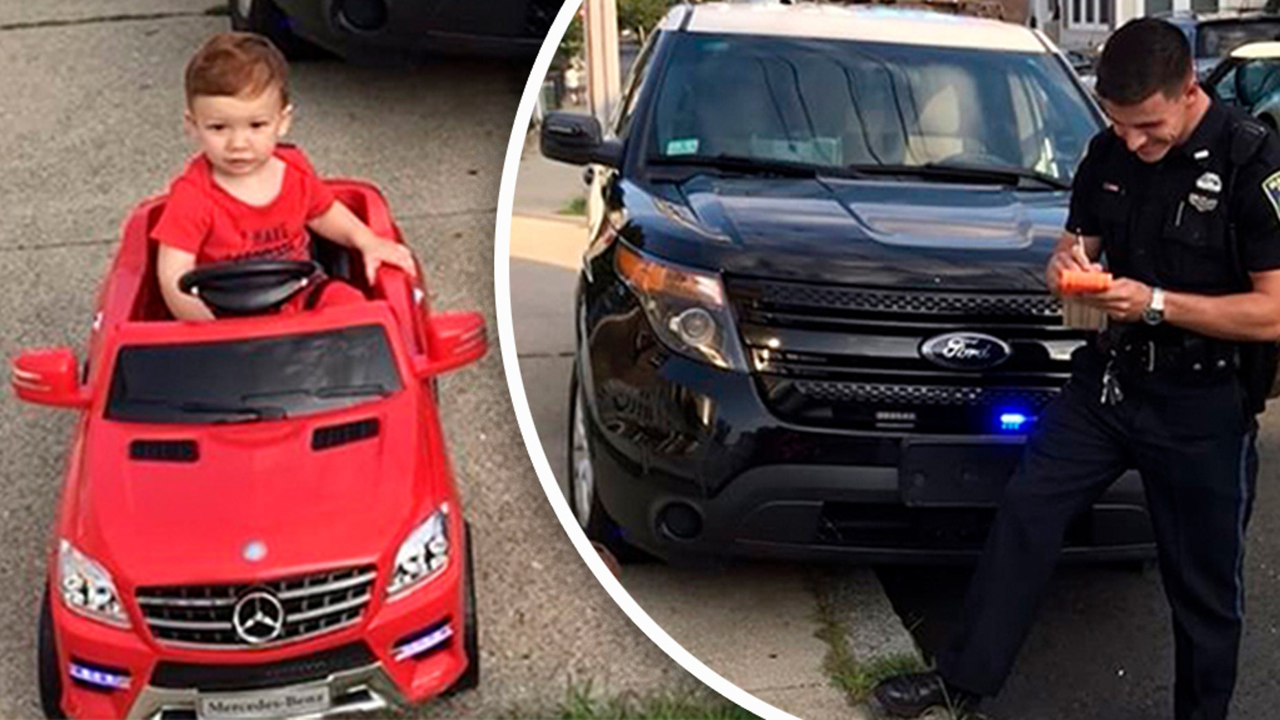 """A youngster behind the wheel of a red toy car was reportedly able to use his """"cuteness"""" to his advantage on Tuesday in getting out of a fake ticket with a Massachusetts police officer."""