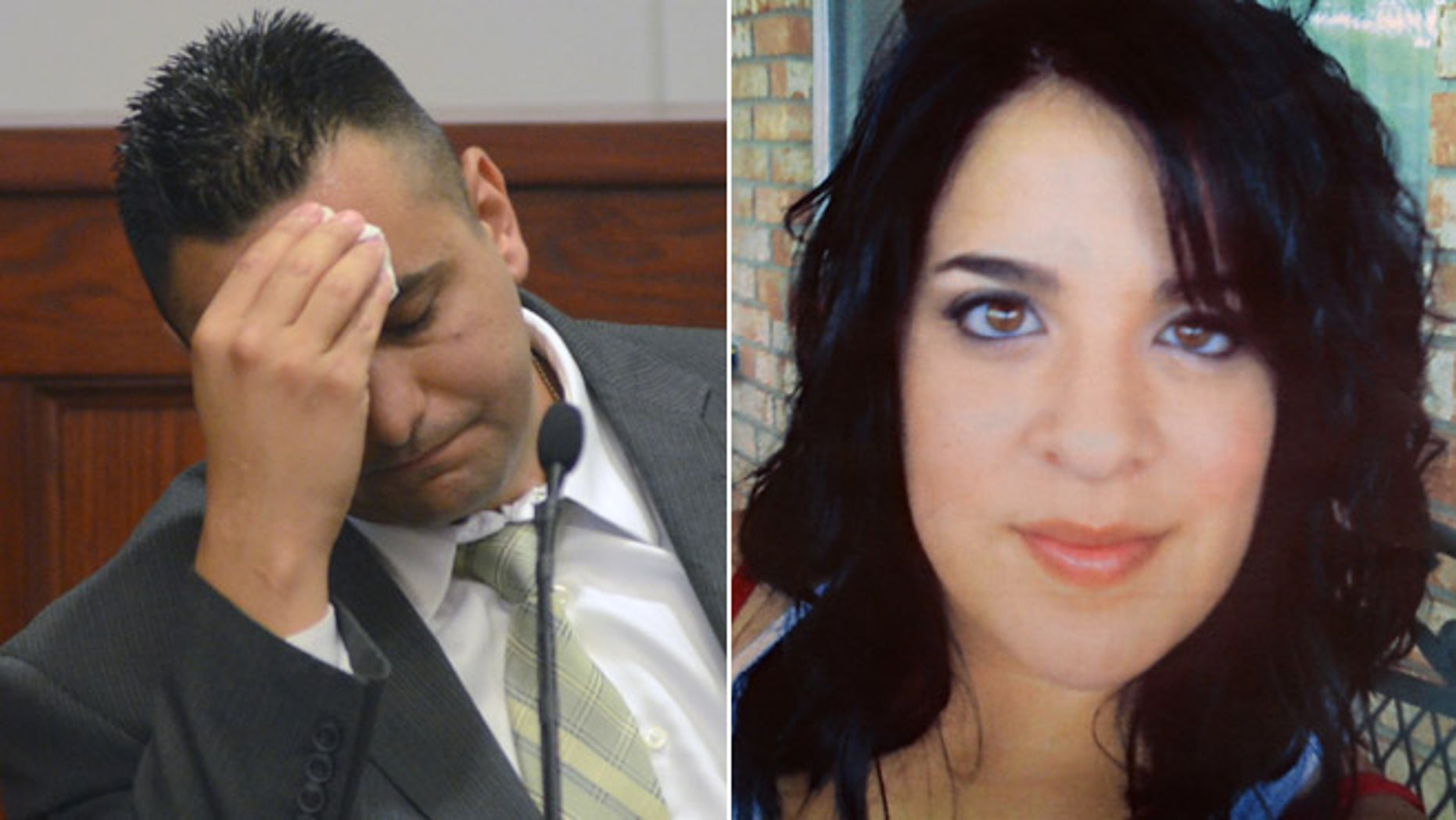 Former Albuquerque police officer Levi Chavez, left, takes the stand in his own defense on in Albuquerque, N.M. Levi, 32, accused of killing his wife and making her death look like a suicide.