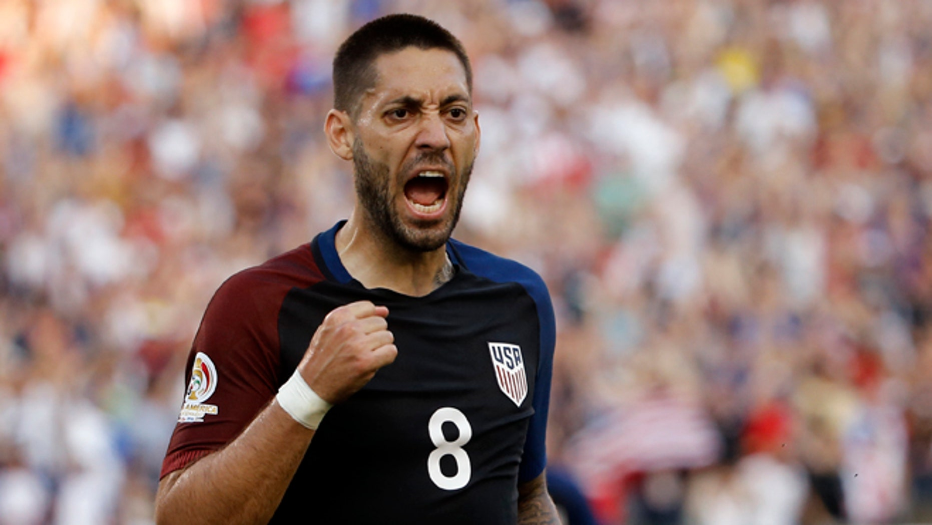 United States' Clint Dempsey reacts after scoring against Paraguay during the first half of a Copa America Group A soccer match Saturday, June 11, 2016, in Philadelphia. (AP Photo/Matt Rourke)