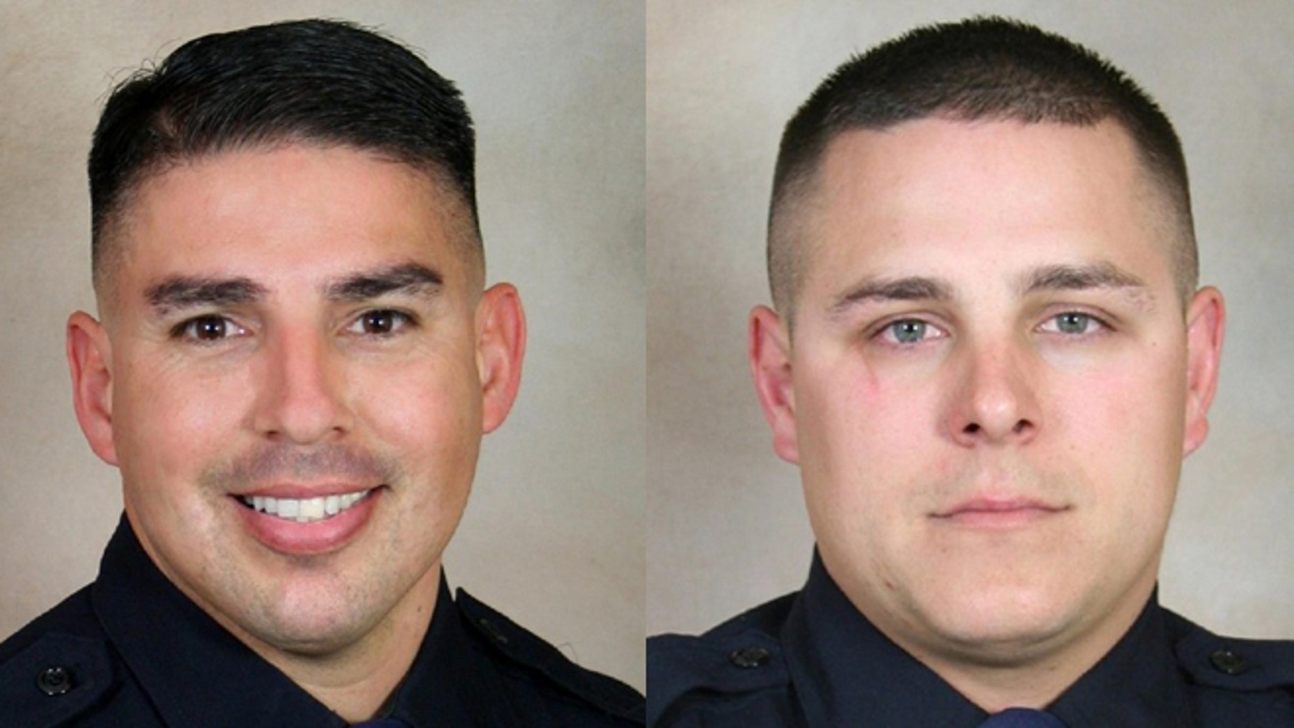 Officers Damacio Diaz (left) and Patrick Mara. (Photos: Bakersfield Police Department)