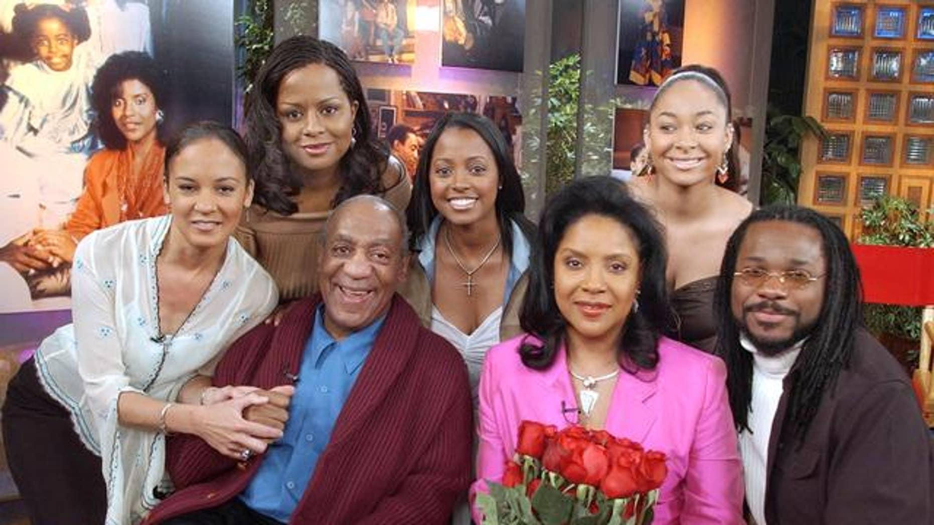 """The Cosby Show"" cast: Sabrina Le Beuff, Tempestt Bledsoe, Bill Cosby, Keshia Knight Pulliam, Phylicia Rashad, Raven Symone and Malcolm Jamal Warner (l-r). (AP)"