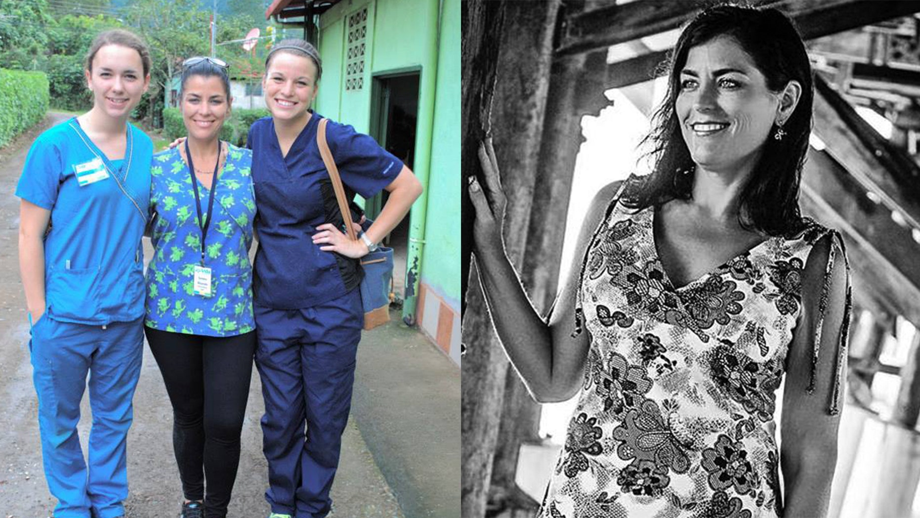 (LEFT) In this June, 2014 photo, U.S. citizen Sondra Lynn, center, poses with two unidentified fellow volunteers in Costa Rica. (RIGHT) In this Sept. 2015 photo, U.S. citizen Sondra Lynn poses for a photo in Florida. (Volunteer Travel via AP)