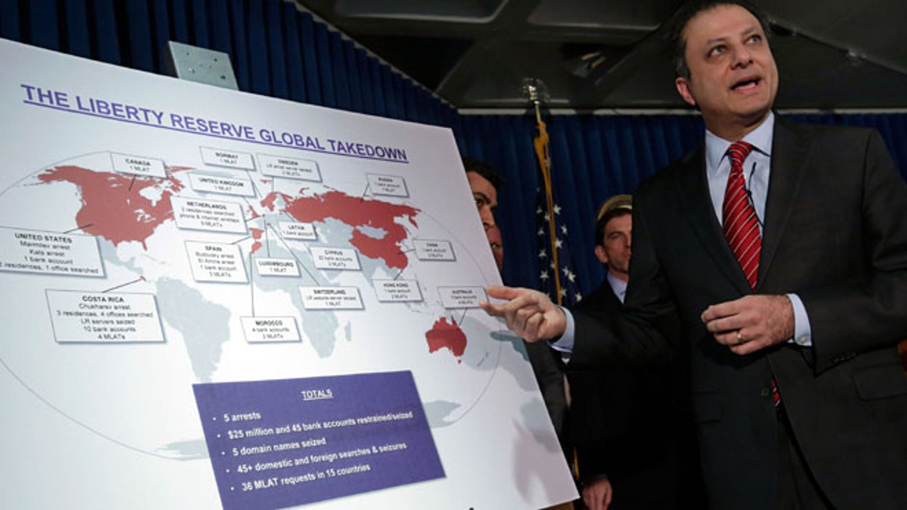 May 28, 2013: Preet Bharara, U.S. Attorney for the Southern District of New York, describes a chart showing the global interests of Liberty Reserve, during a news conference in New York.