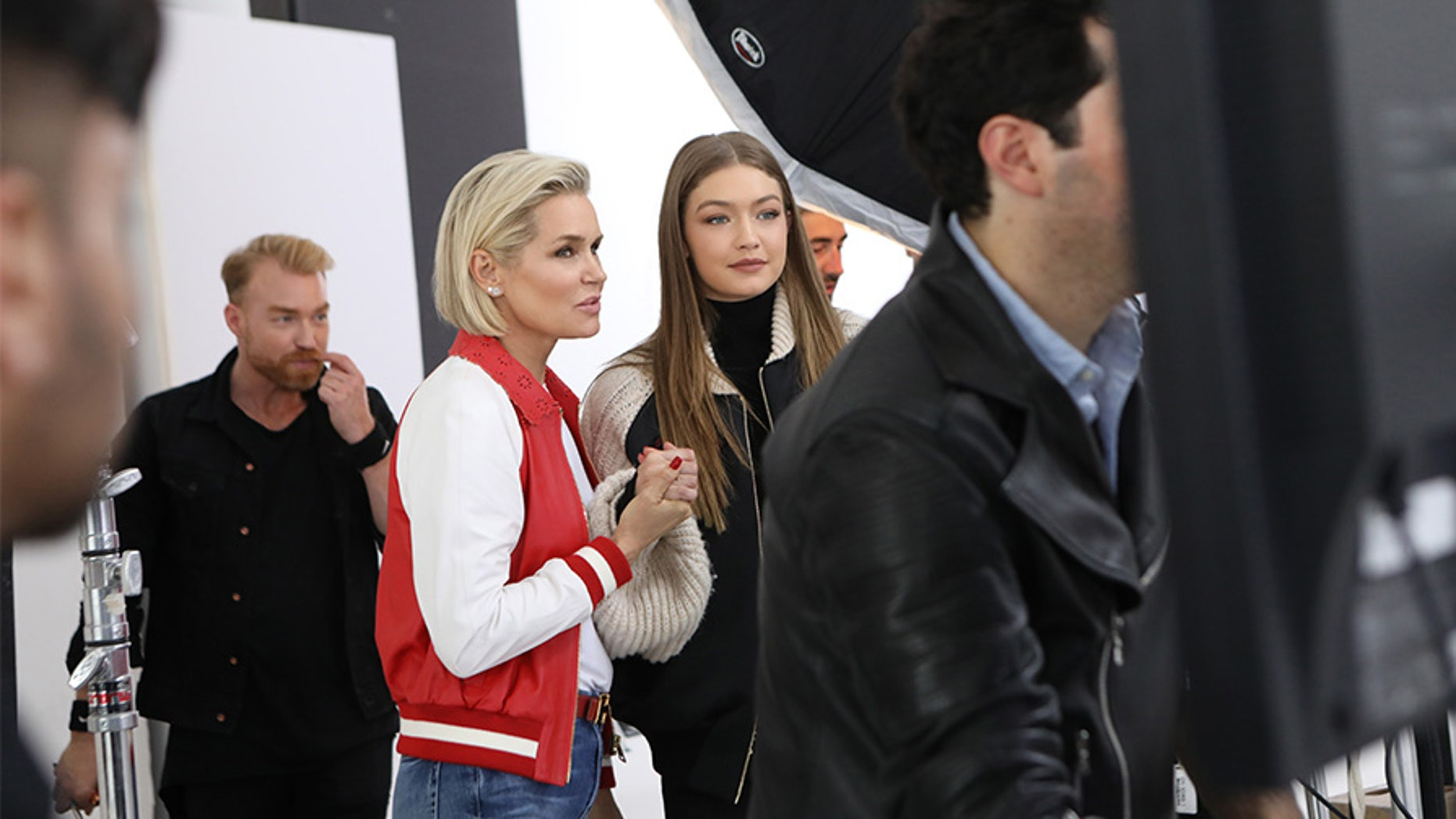 """Yolanda Hadid (left) talks to her daughter, supermodel Gigi Hadid, while filming the new Lifetime reality TV series """"Making a Model."""""""