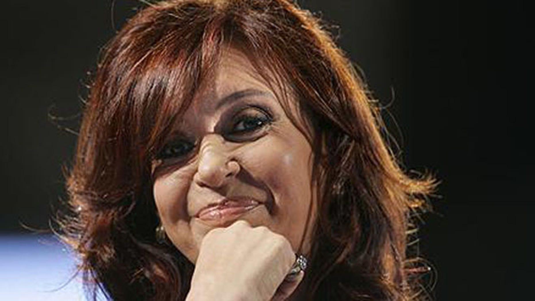 File Photo: Argentine President Cristina Fernandez de Kirchner, Friday, Oct. 5, 20007. (AP Photo/Natacha Pisarenko)