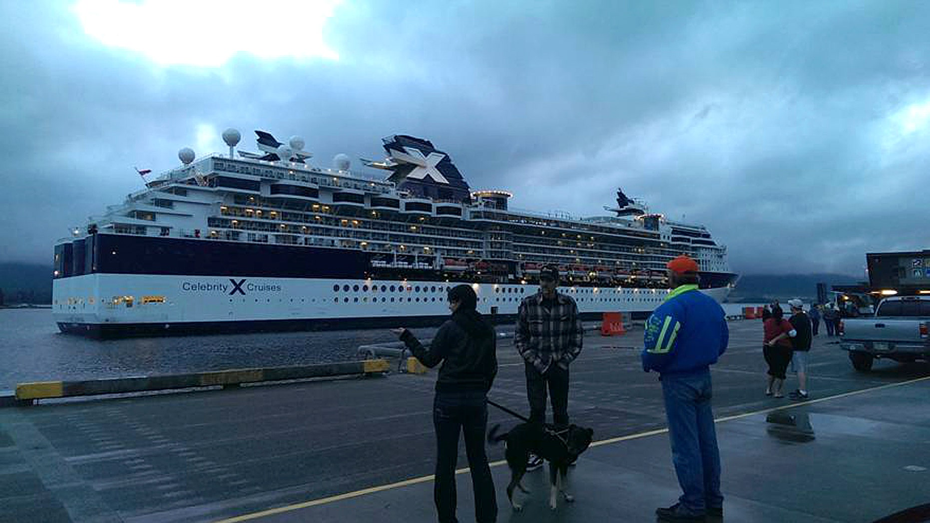 Aug. 19, 2013: A small crowd as it gathers near Berth 3 to watch the Celebrity Cruises' Millennium return to Ketchikan, Alaska.