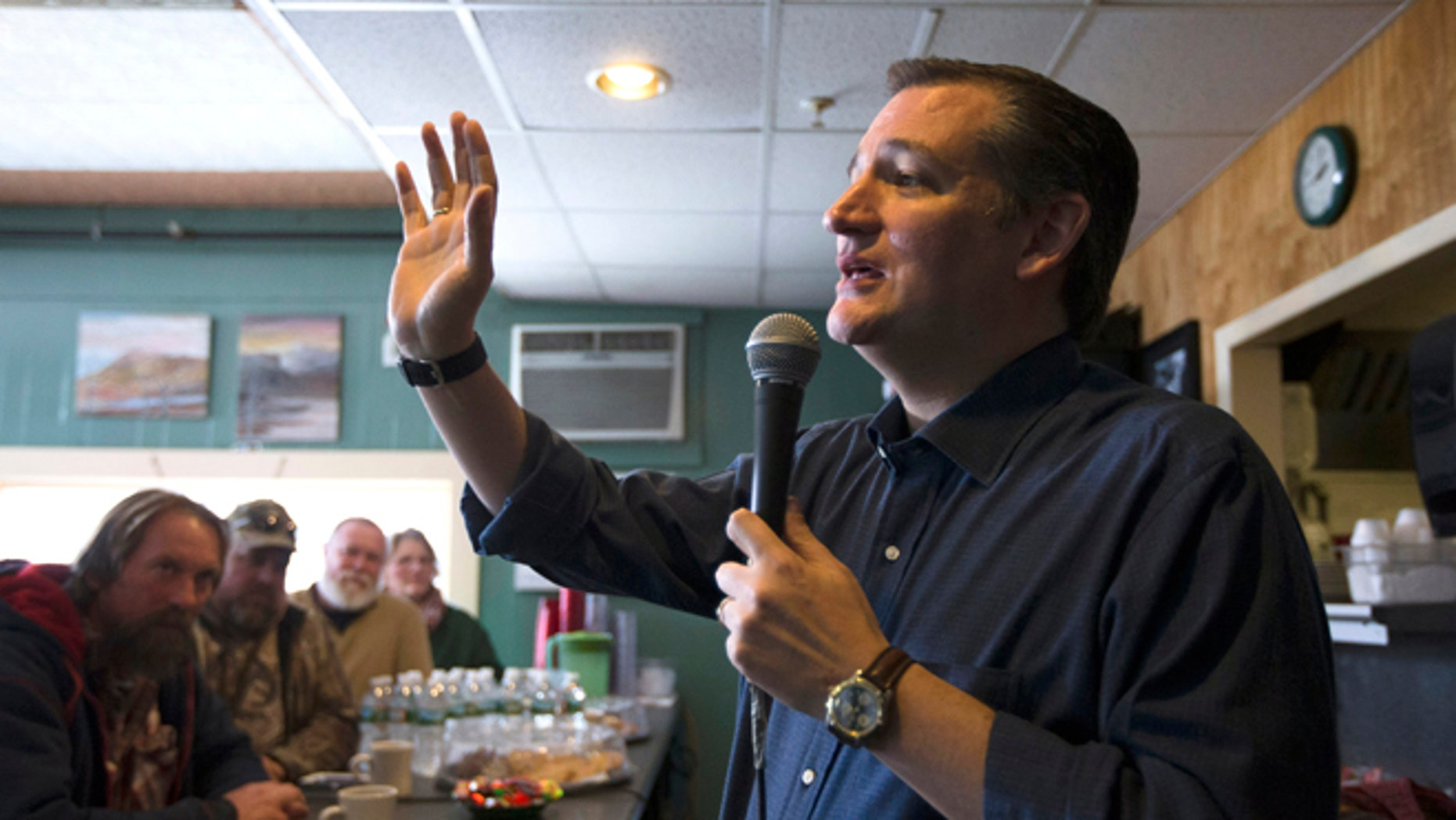 In this Jan. 19, 2016, photo, Republican presidential candidate, Sen. Ted Cruz, R-Texas speaks during a campaign stop at Lino's Restaurant in Sanbornville, N.H. Cruz is dreaming of a face-off with Democratic front-runner Hillary Clinton, even before the first primary votes are cast. He warns his supporters about what he thinks America will look like under a Clinton administration, predicting a nuclear-armed Iran, amnesty for millions of people in America illegally and the continuation of President Barack Obamas health care law.(AP Photo/John Minchillo)