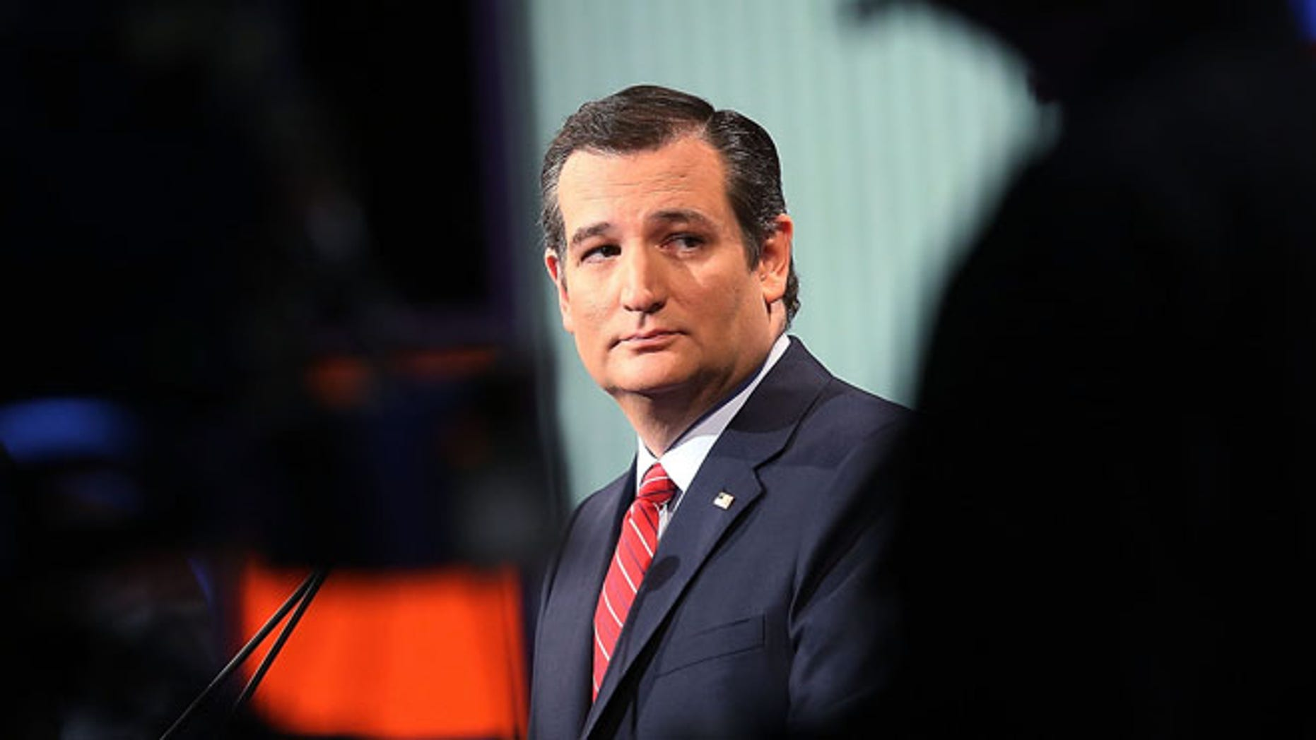 Republican presidential candidate Sen. Ted Cruz (R-TX) participates in the Fox News - Google GOP Debate January 28, 2016 at the Iowa Events Center in Des Moines, Iowa. (Photo by Scott Olson/Getty Images)