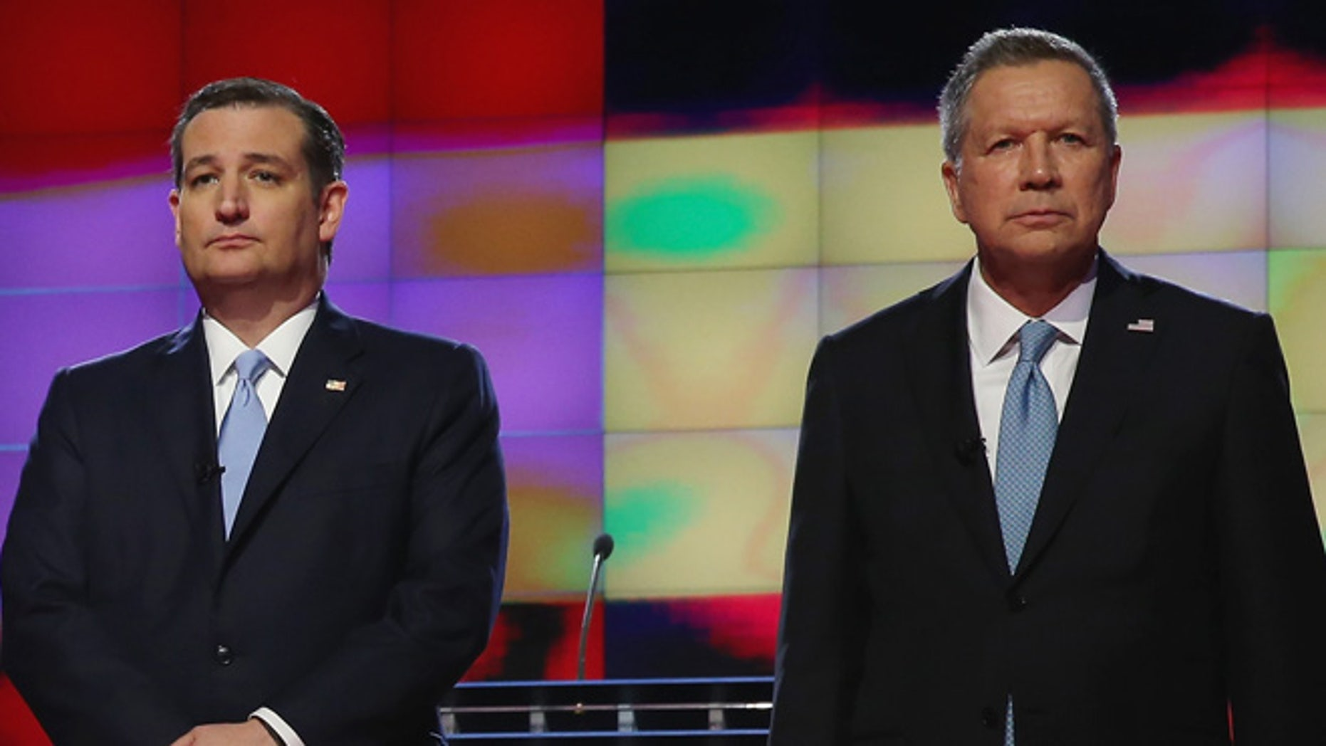 CORAL GABLES, FL - MARCH 10:  Republican presidential candidates, Sen. Marco Rubio (R-FL), Donald Trump, Sen. Ted Cruz (R-TX), and Ohio Gov. John Kasich debate during the CNN, Salem Media Group, The Washington Times Republican Presidential Primary Debate on the campus of the University of Miami on March 10, 2016 in Coral Gables, Florida. The candidates continue to campaign before the March 15th Florida primary.  (Photo by Joe Raedle/Getty Images)