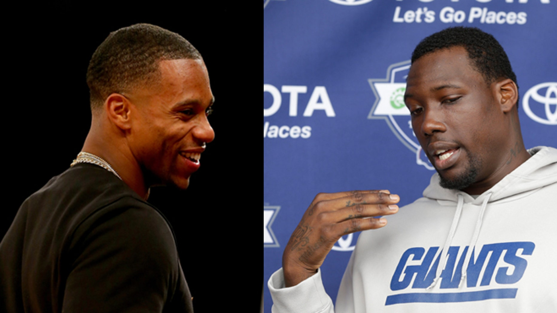 New York Giants wide receivers Victor Cruz (left) and Jason Pierre-Paul.