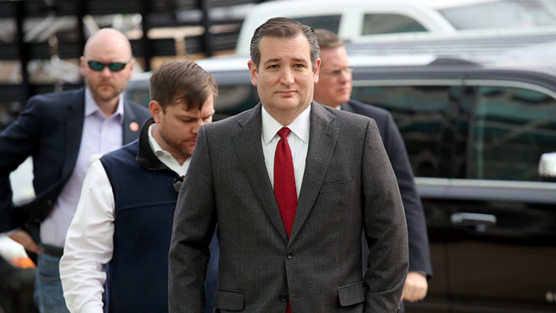 WASHINGTON, DC - MARCH 22:  Republican presidential candidate Sen. Ted Cruz (R-TX) arrives to address the bombings in Brussels during remarks March 22, 2016 in Washington, DC. Reports indicate at least 34 people have died and scores more injured in the bombings at the airport and Metro.  (Photo by Win McNamee/Getty Images)