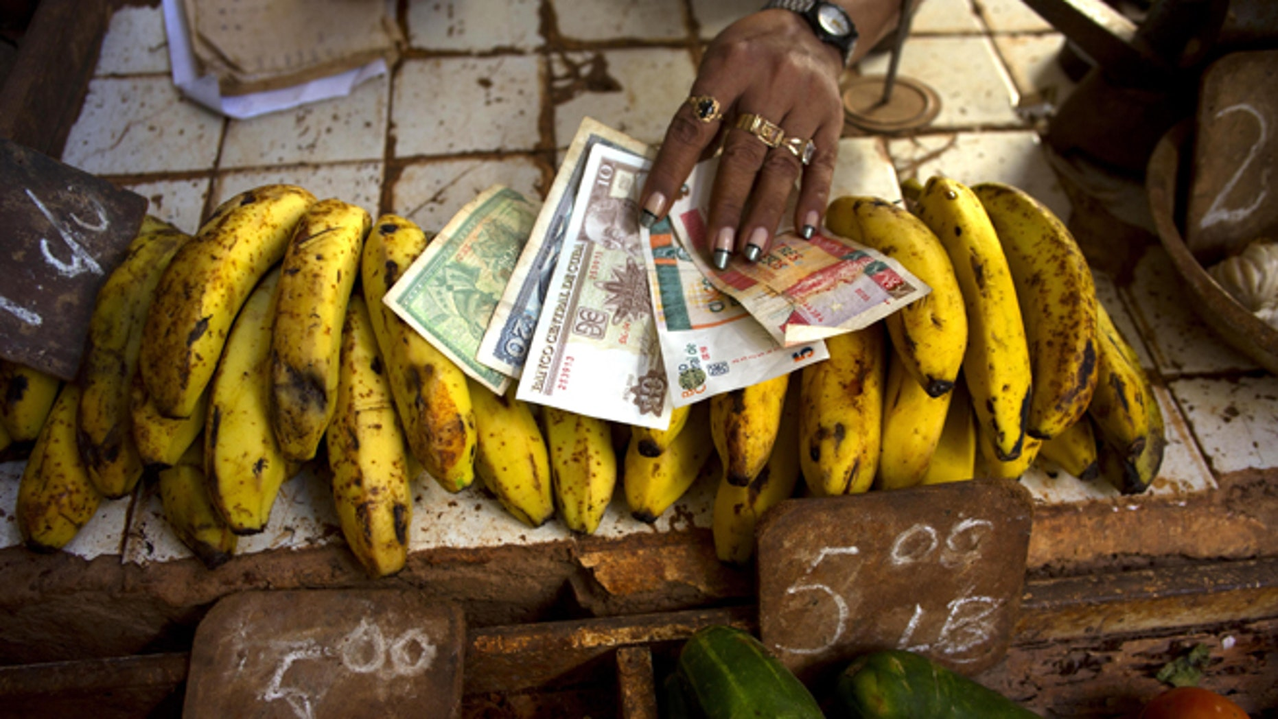 In this Aug. 30, 2013 photo, a food vendor spreads out convertible pesos, known as CUCs, the two bills on the right, and regular Cuban pesos at her stand in a vegetable market in Havana, Cuba.  Cuba is the only country in the world that mints two national currencies, a bizarre system that even President Raul Castro acknowledges is hamstringing the island's socialist economy and must be scrapped.(AP Photo/Ramon Espinosa)
