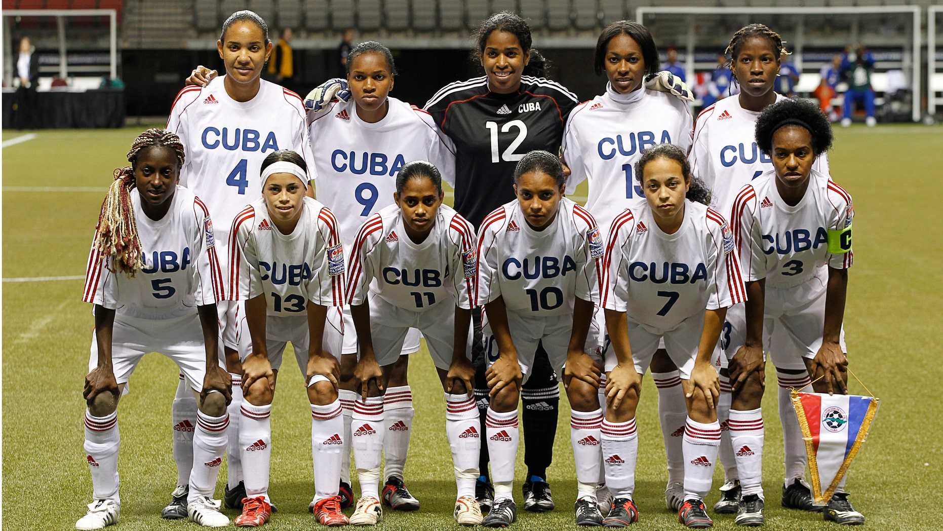 VANCOUVER, CANADA - JANUARY 23:  The starting 11 for  Cuba against Haiti during the 2012 CONCACAF Women's Olympic Qualifying Tournament at BC Place on January 23, 2012 in Vancouver, British Columbia, Canada.  (Photo by Jeff Vinnick/Getty Images)