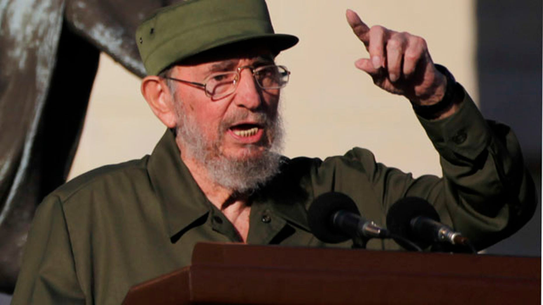 Sept. 3: Cuba's leader Fidel Castro delivers a speech to students outside Havana's University in Havana, Cuba. Castro dusted off his military fatigues for the first time since stepping down as president four years ago, a symbolic act in a Communist country where little signals often carry enormous significance. (AP)