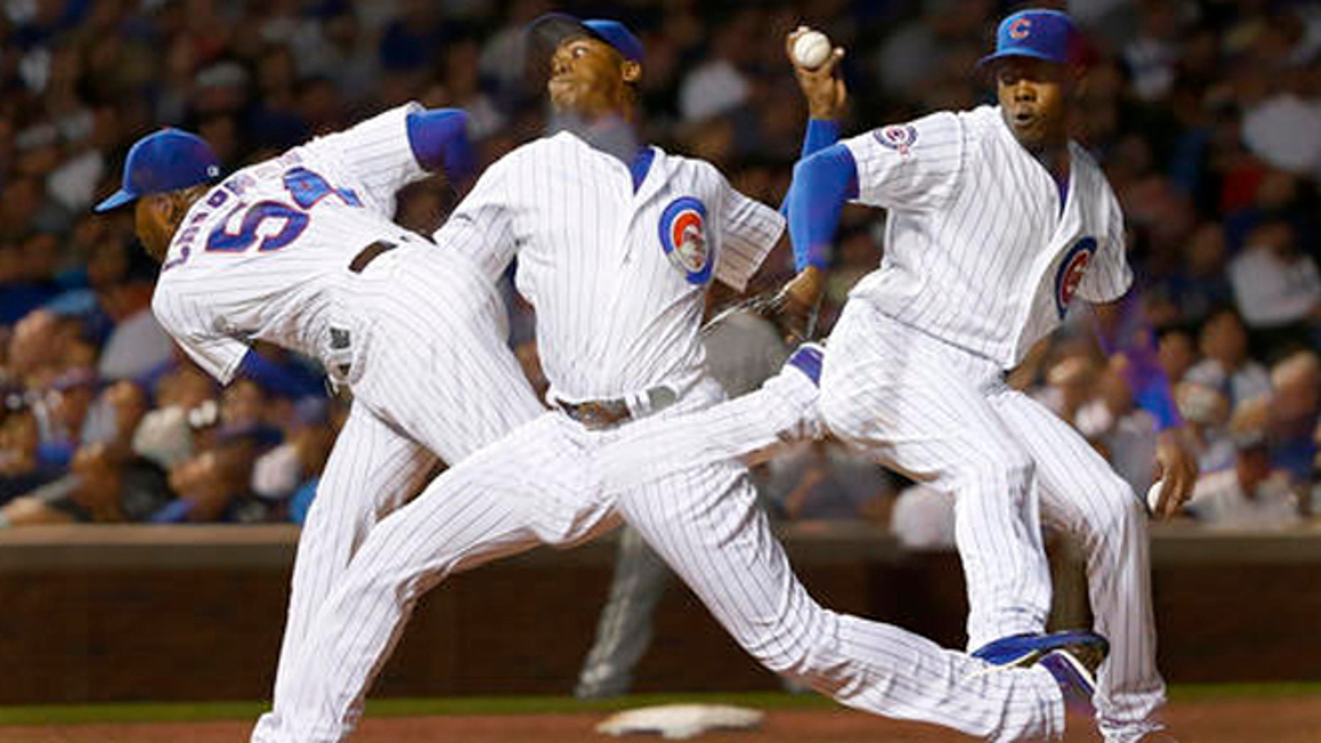Chicago Cubs relief pitcher Aroldis Chapman on Thursday, July 28, 2016, in Chicago.