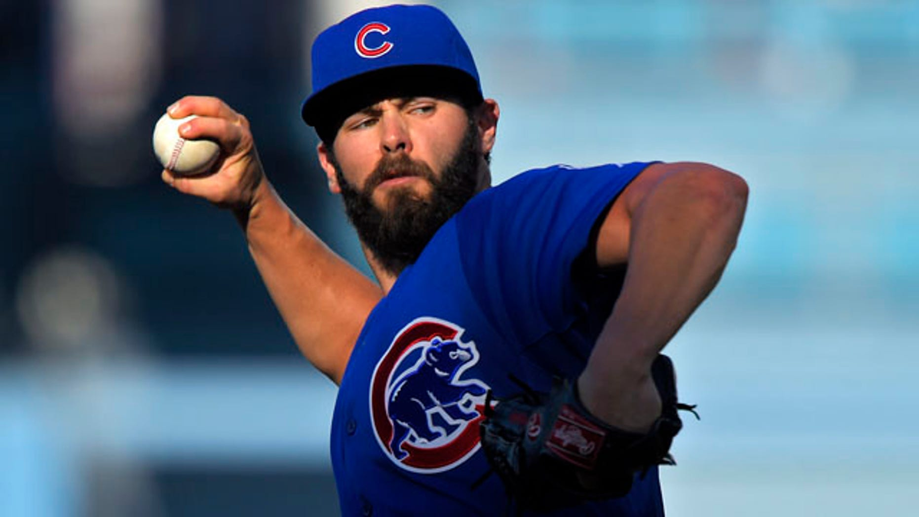 Aug. 30, 2015: Chicago Cubs starting pitcher Jake Arrieta throws to the plate during the first inning of a baseball game against the Los Angeles Dodgers. (AP Photo/Mark J. Terrill)