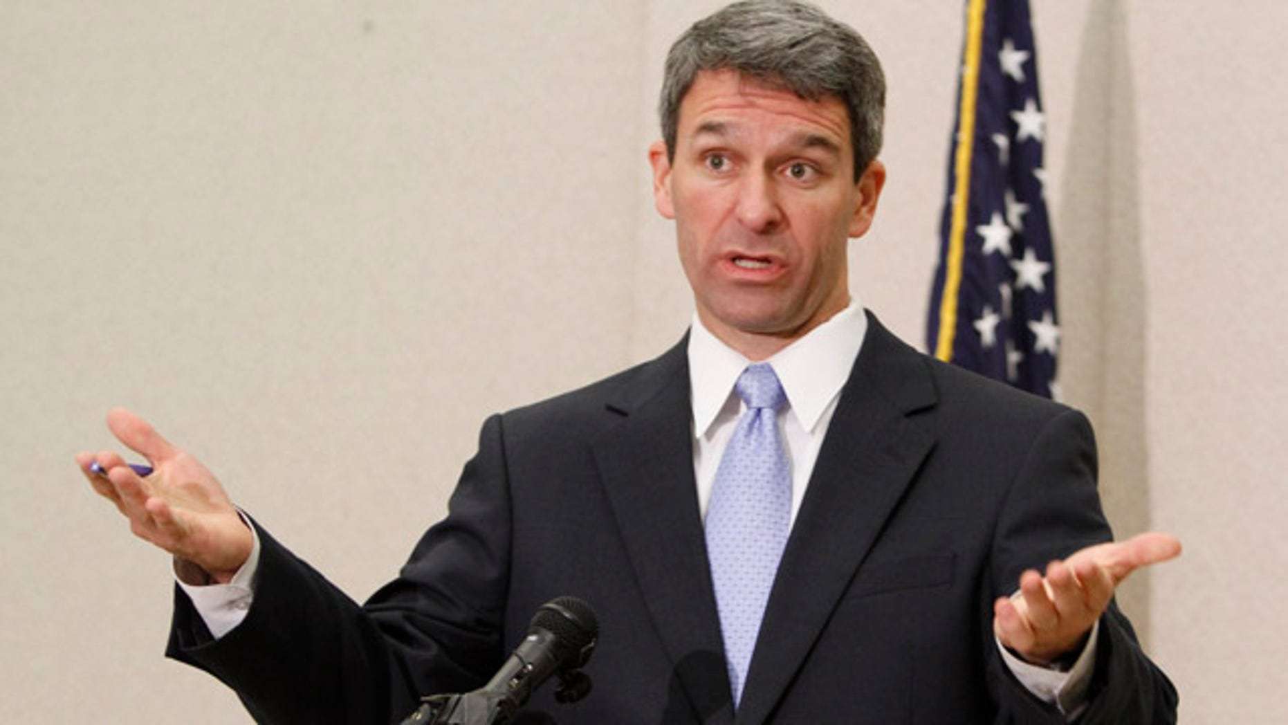 May 10, 2011: Virginia Attorney General Ken Cuccinelli gestures during a press conference after a hearing before the 4th Circuit Court of Appeals on a challenge to the federal health care reform act in Richmond, Va.