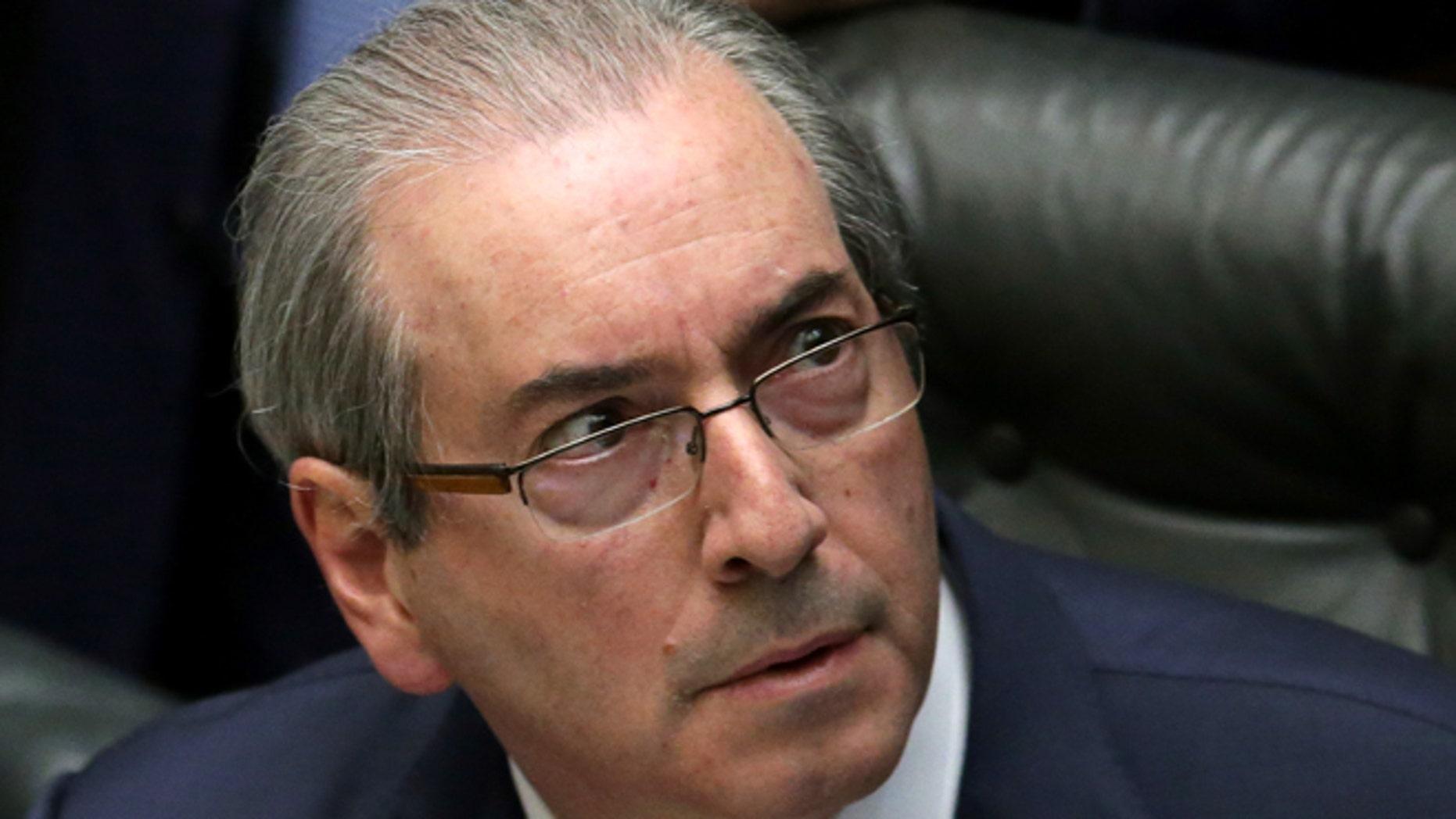 House Speaker Eduardo Cunha at the Chamber of Deputies in Brasilia, Brazil.