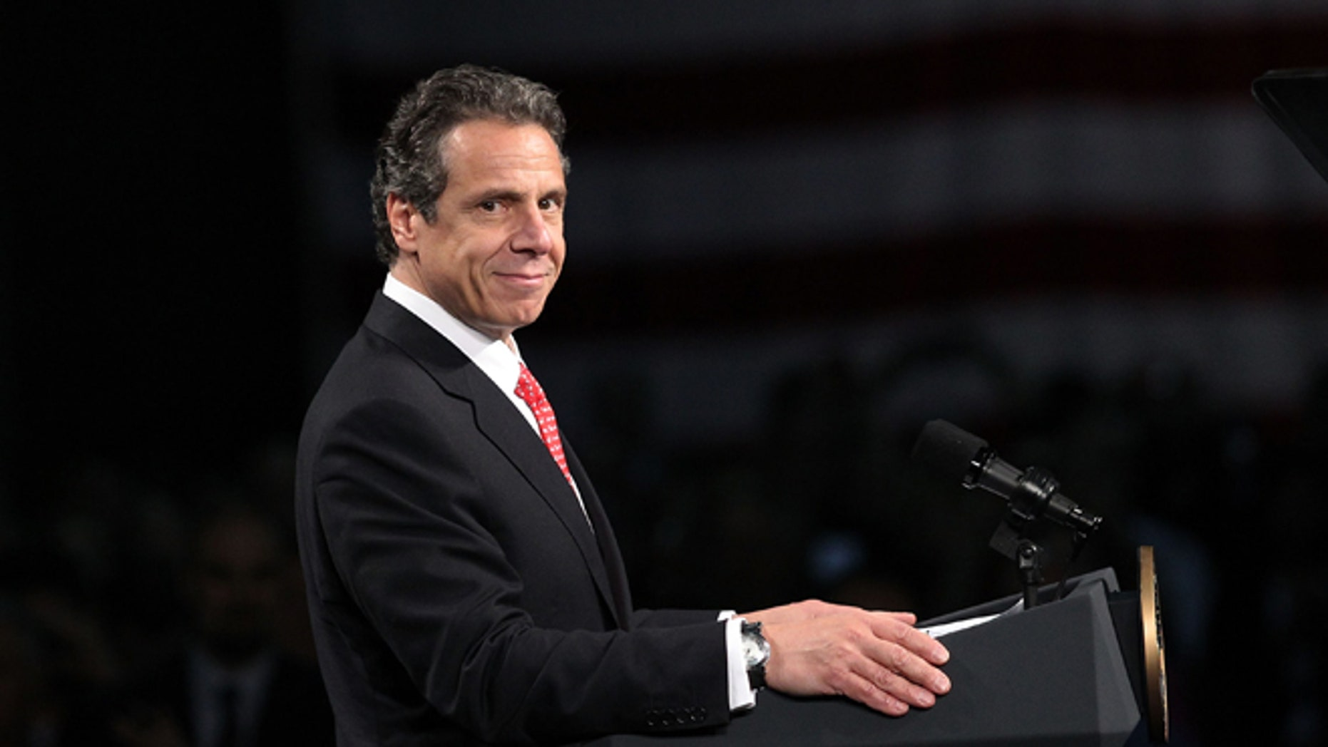 ALBANY, NY - MAY 08:  New York Gov. Andrew Cuomo speaks at the College of Nanoscale Science and Engineering at the University at Albany on May 8, 2012 in Albany, New York. Obama delivered an address that focused on the economy and job creation, two issues which look set to become the central themes of the race against presumptive Republican candidate Mitt Romney. According to a recent Marist College pole, Obama holds a 22-point lead over rival Romney in New York state.  (Photo by Spencer Platt/Getty Images)