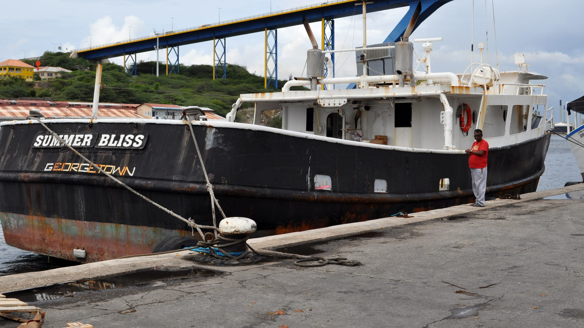 "Nov. 30, 2012: The ""Summer Bliss""fishing boat sits docked at the Willemstad port in Curacao."