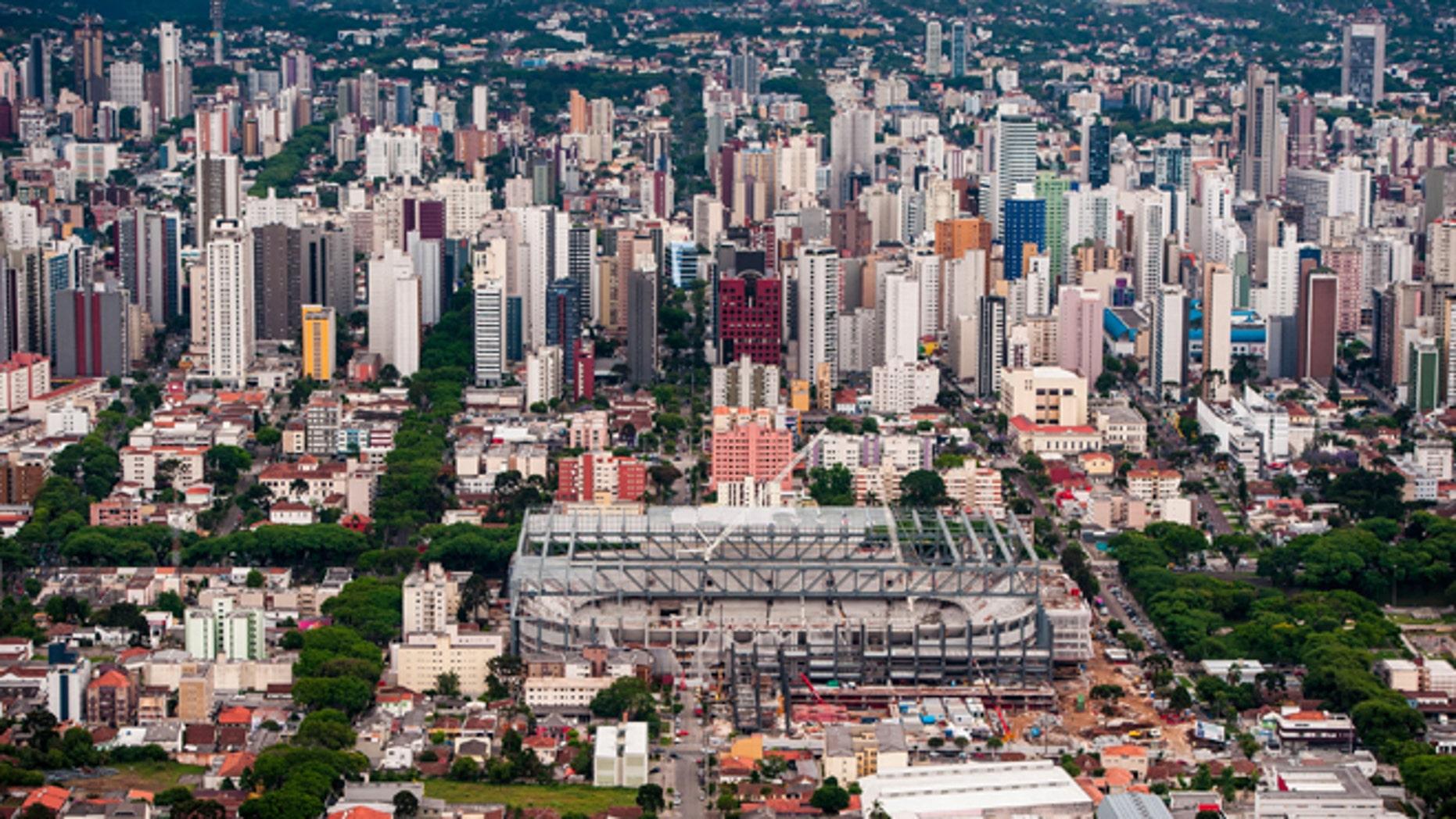 Aerial view of the Arena da Baixada stadium undergoing remodeling on November 22, 2013 in Curitiba, Brazil.