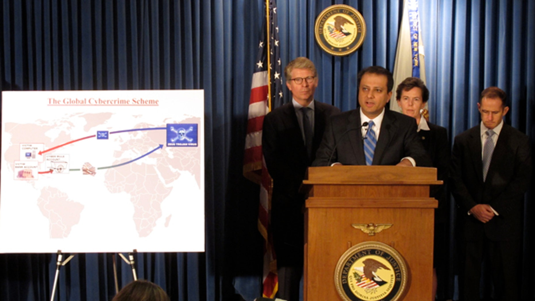 Preet Bharara, U.S. attorney for the Southern District of New York, at a press conference announcing charges against 60 members of an international cybercrime ring.