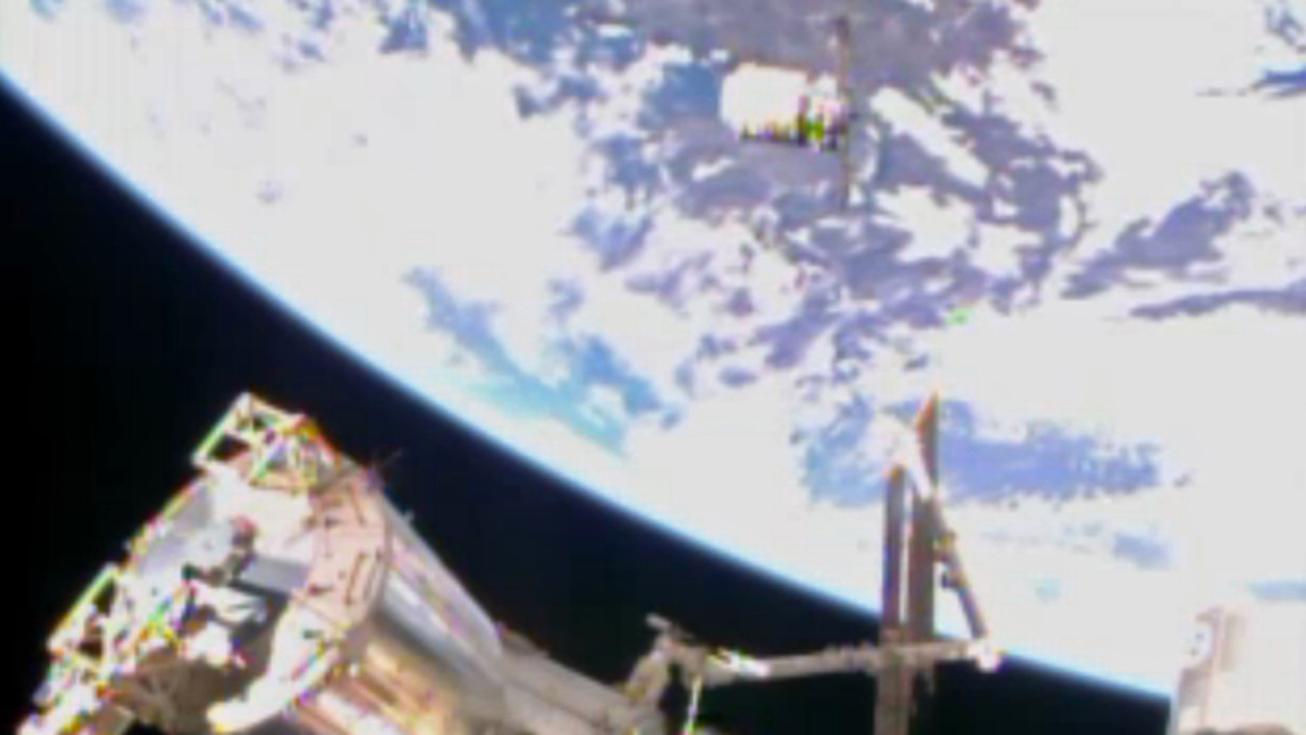 Jan. 12, 2014: In this image from video provided by NASA the Cygnus resupply spacecraft approaches the International Space Station.