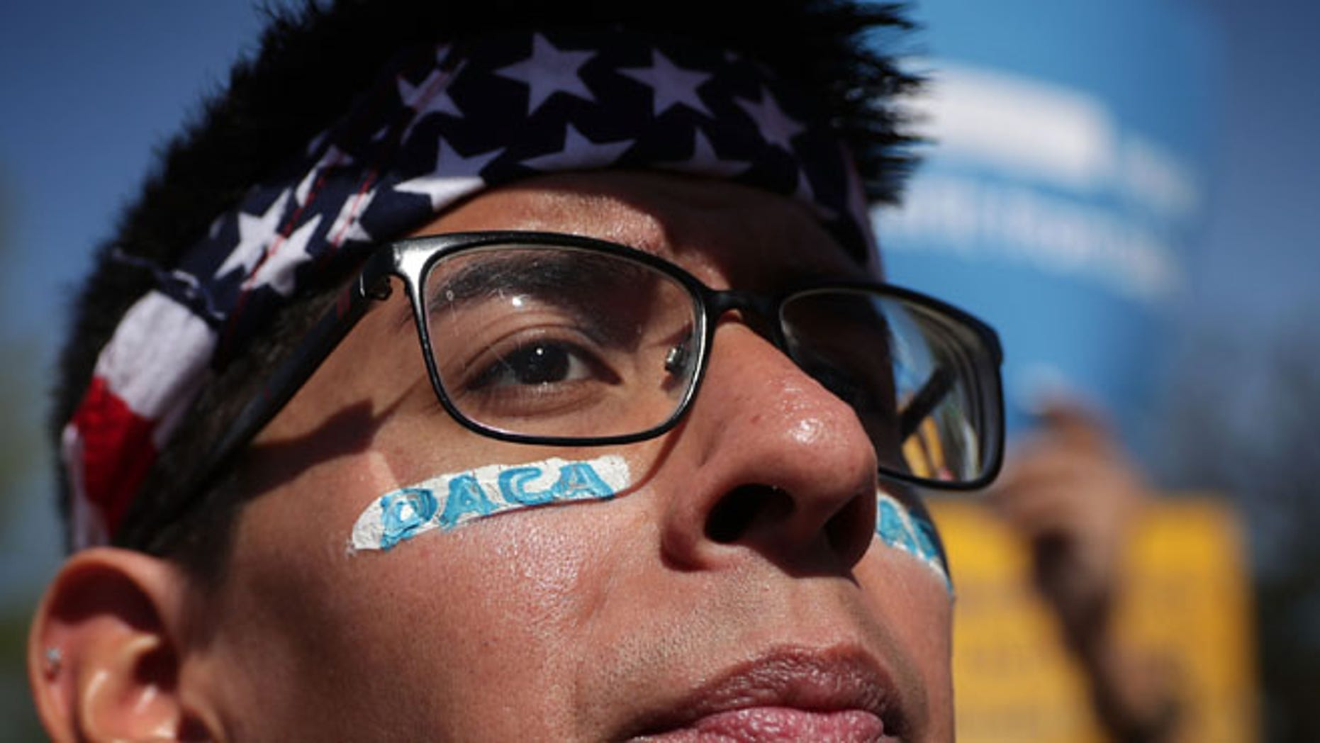 WASHINGTON, DC - APRIL 18:  Pro-immigration activist Omar Martinez attends a rally in front of the U.S. Supreme Court April 18, 2016 in Washington, DC. The Supreme is scheduled to hear oral arguments in the case of United States v. Texas, which is challenging President Obama's 2014 executive actions on immigration - the Deferred Action for Children Arrivals (DACA) and Deferred Action for Parents of American and Lawful Permanent Residents (DAPA) programs.  (Photo by Alex Wong/Getty Images)