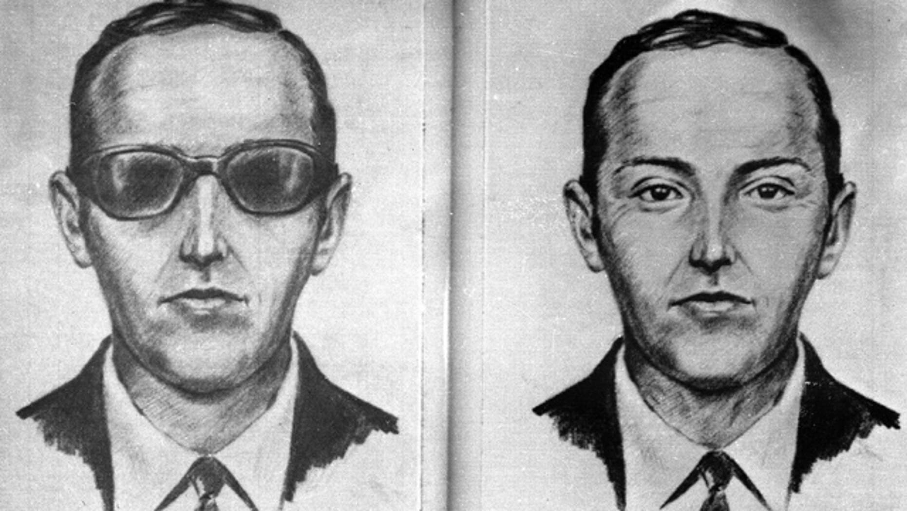 "FILE - Artist's sketch provided by the FBI shows the skyjacker known as ""Dan Cooper"" or ""D.B. Cooper."""