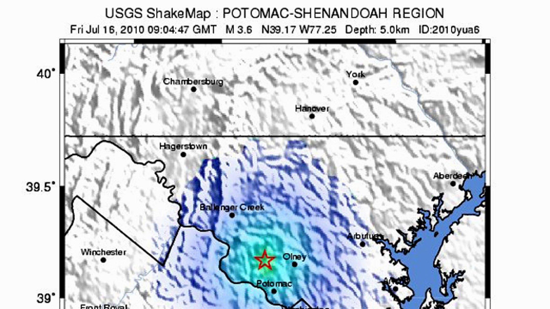 """A """"shakemap"""" from the USGS shows the magnitude 3.6 earthquake that rumbled D.C."""